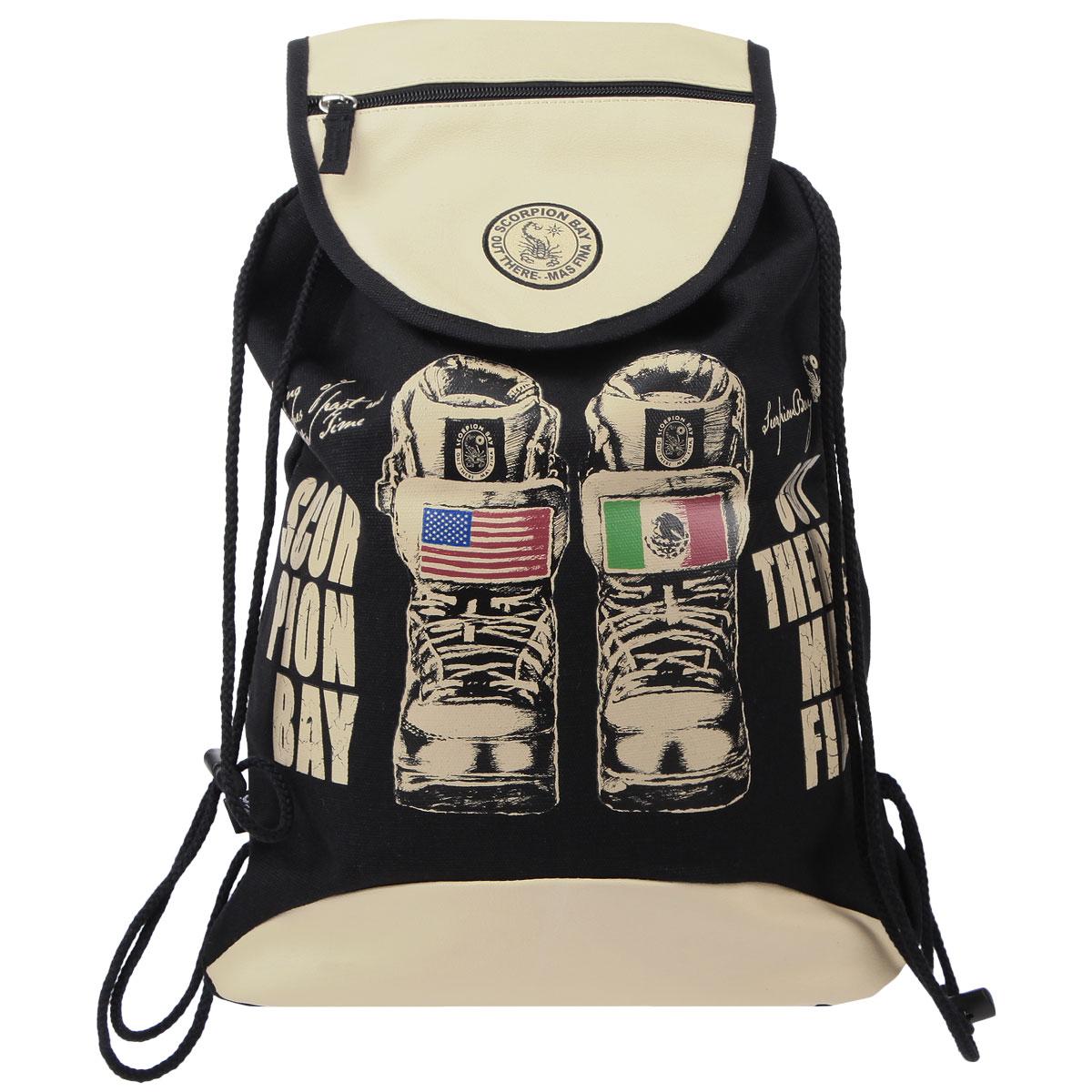 Сумка-рюкзак для обуви Scorpion Bay, цвет: бежевый, черныйSBAB-RT1-895Сумка для сменной обуви Scorpion Bay идеально подойдет как для хранения, так и для переноски сменной обуви и одежды. Сумка, оформленная ярким принтом, выполнена из прочного износостойкого материала и содержит одно вместительное отделение, закрывающееся клапаном на липучке и затягивающееся с помощью текстильных шнурков. Шнурки фиксируются в нижней части сумки, благодаря чему ее можно носить за спиной как рюкзак. На клапане имеется дополнительный карман на молнии. Ваш ребенок с радостью будет ходить в школу с таким аксессуаром.