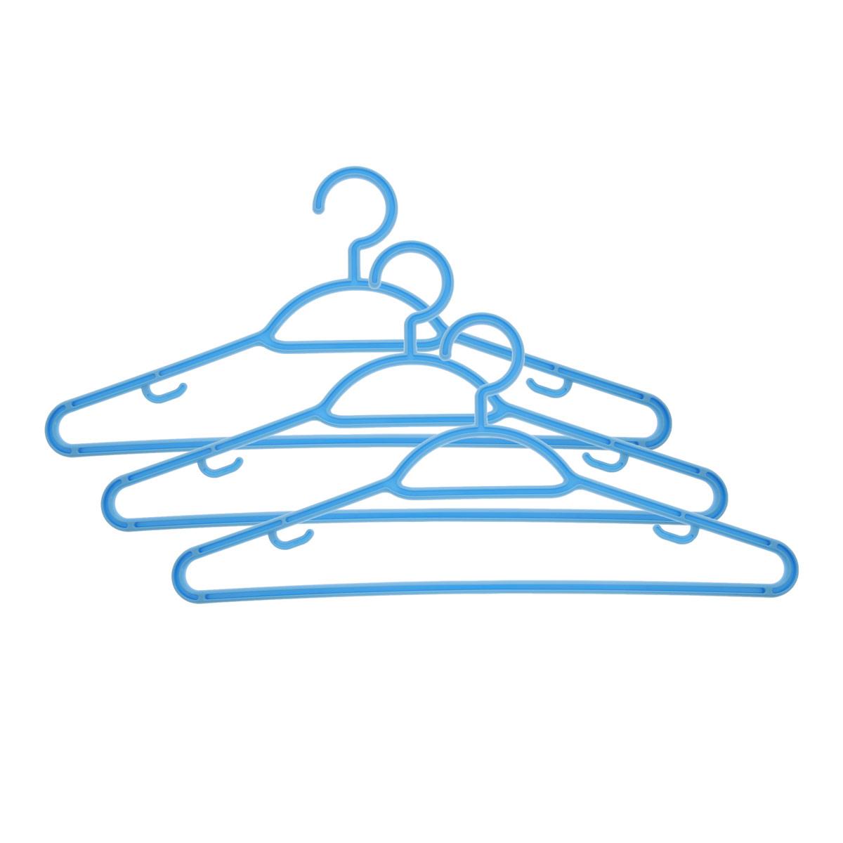 Набор вешалок Econova, с перекладиной, с крючками, цвет: голубой, размер 48, 3 шт. С12356С12356Набор Econova выполненный из прочного пластика, состоит из 3 вешалок. Каждое изделие оснащено перекладиной и боковыми крючками. Вешалка - это незаменимая вещь для того, чтобы ваша одежда всегда оставалась в хорошем состоянии. Комплектация: 3 шт. Размер одежды: 48.