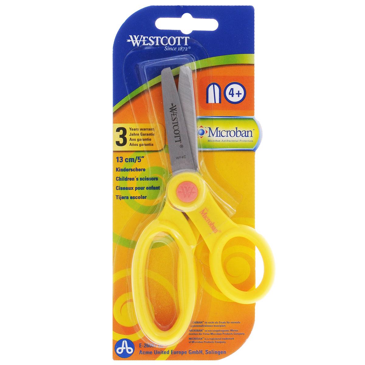 """Ножницы детские """"Westcott"""", с антибактериальным покрытием, цвет: желтый, 13 см Е-26007 00_желтый"""