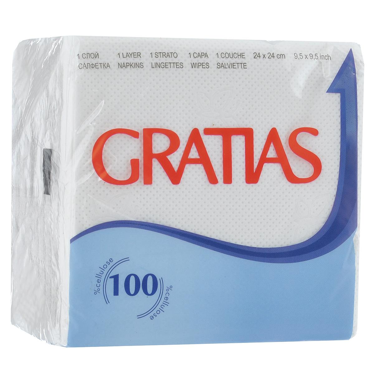 Салфетки бумажные Gratias, однослойные, 24 х 24 см, 90 шт790009Однослойные бумажные салфетки Gratias мягкие, но в то же время прочные. Они оформлены тиснением в виде бабочек. Подходят для косметического, санитарно-гигиенического и хозяйственного назначения. Обладают хорошими впитывающими свойствами. Материал: 100% целлюлоза. Размер салфетки: 24 см х 24 см. Комплектация: 90 шт.