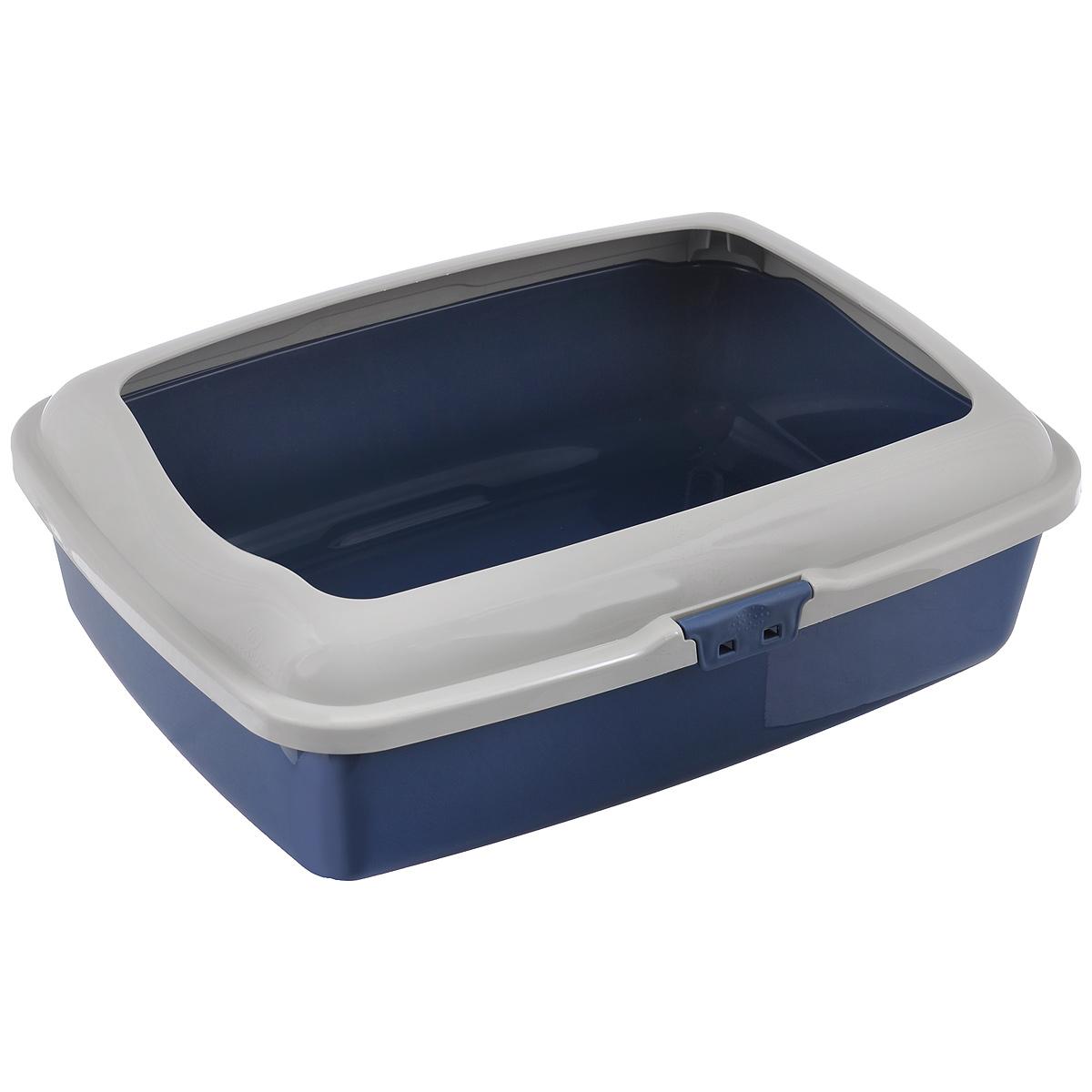 Туалет для кошек Marchioro Goa, с бортом, цвет: синий, бежевый, 48,5 см х 36 см х 16 см0120710Туалет для кошек Marchioro Goa изготовлен из высококачественного итальянского пластика с полированной поверхностью. Высокий борт, прикрепленный к периметру лотка, удобно защелкивается и предотвращает разбрасывание наполнителя. Благодаря специальным резиновым ножкам туалет не скользит по полу.