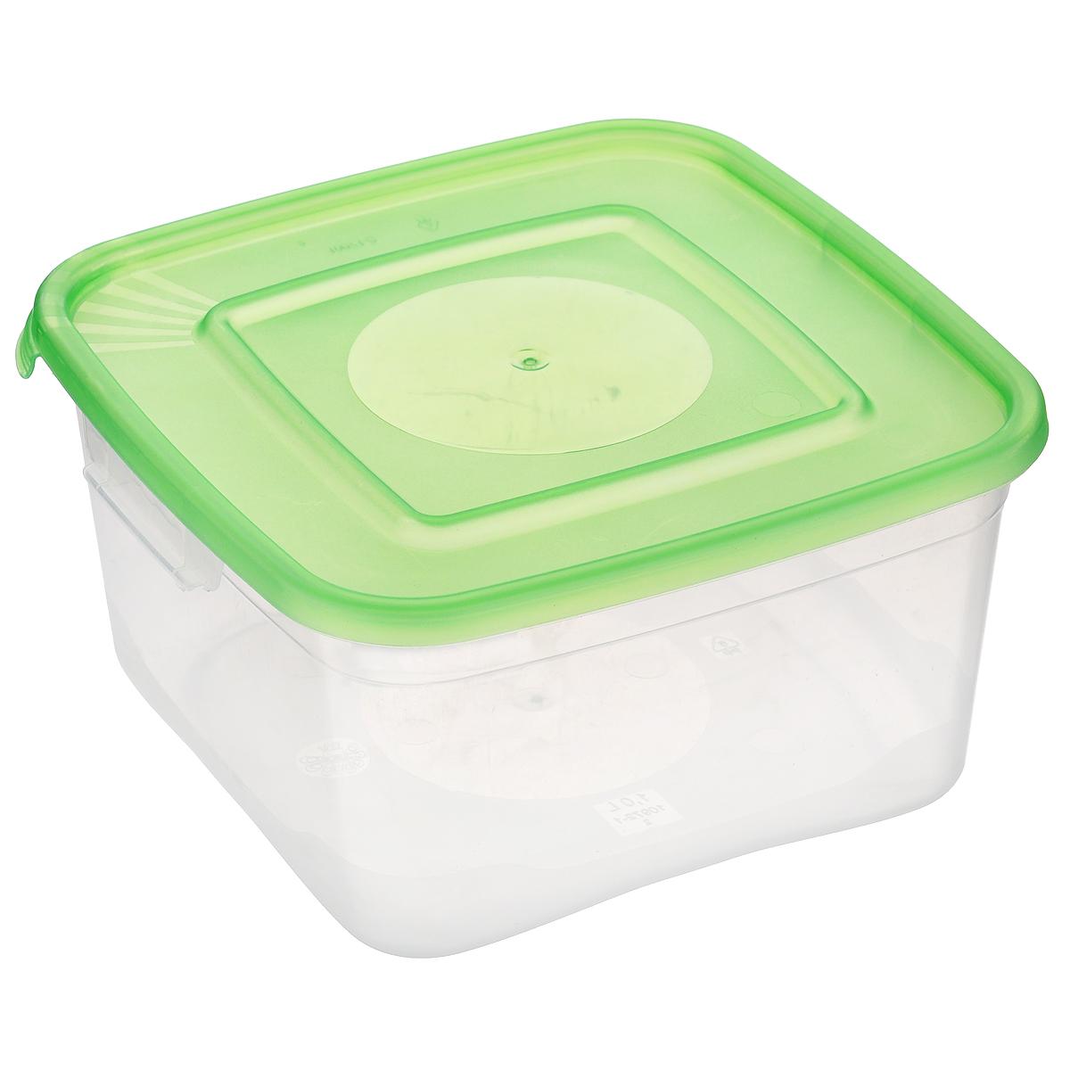 Контейнер Полимербыт Каскад, цвет: прозрачный, салатовый, 1 лС670 салатовыйКонтейнер Полимербыт Каскад квадратной формы, изготовленный из прочного пластика, предназначен специально для хранения пищевых продуктов. Крышка легко открывается и плотно закрывается. Контейнер устойчив к воздействию масел и жиров, легко моется. Прозрачные стенки позволяют видеть содержимое. Контейнер имеет возможность хранения продуктов глубокой заморозки, обладает высокой прочностью. Можно мыть в посудомоечной машине. Подходит для использования в микроволновых печах.