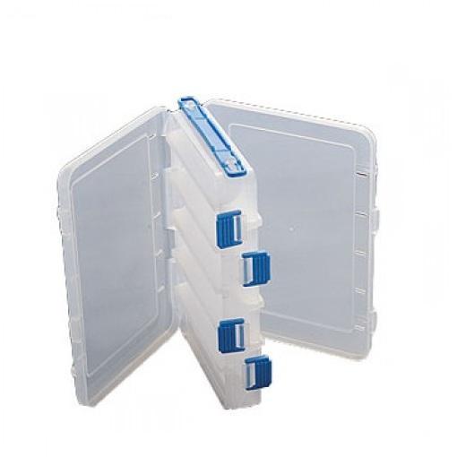 Коробка рыболовная пластиковая Salmo двухсторонняя 07, цвет: белый с синимH009Двусторонняя коробка с отсеками для хранения рыболовных приманок станет надежной помощницей в Вашем любимом занятии. Множество отделений и ручка для переноски позволят Вам получить еще больше удовольствия от рыбалки.