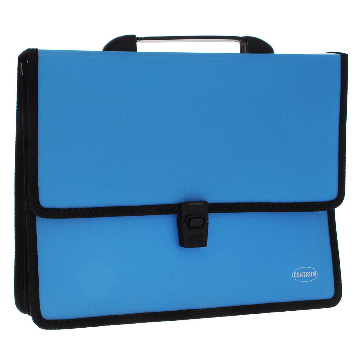 Папка-портфель Centrum, 2 отделения, с ручкой, цвет: голубой, формат А480610Папка-портфель Centrum станет вашим верным помощником дома и в офисе. Это удобный и функциональный инструмент, предназначенный для хранения и транспортировки больших объемов рабочих бумаг и документов формата А4. Папка изготовлена из износостойкого высококачественного пластика толщиной 0,70 мм, и закрывается на широкий клапан с замком. Состоит из 2 вместительных отделений. Грани папки отделаны полиэстером, а уголки закруглены для обеспечения дополнительной прочности и сохранности опрятного вида папки. Папка имеет удобную ручку для переноски. Папка - это незаменимый атрибут для любого студента, школьника или офисного работника. Такая папка надежно сохранит ваши бумаги и сбережет их от повреждений, пыли и влаги.