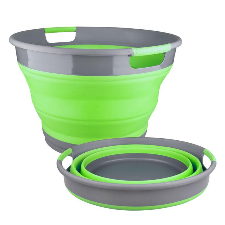 Корзина для белья Miolla, складная, цвет: серый, зеленый, 9,5 л2507020UСкладная корзина для белья Miolla изготовлена из термопластичной резины и пластика. Благодаря гибкости и пластичности материала, корзина легко складывается и раскладывается. При этом пластиковые вставки отлично держат форму изделия. Корзина прекрасно подходит для хранения белья, различных бытовых вещей и других предметов. Для удобной переноски имеются ручки. Такая практичная и функциональная корзина пригодится в любом хозяйстве. Высота в сложенном виде: 6,8 см.