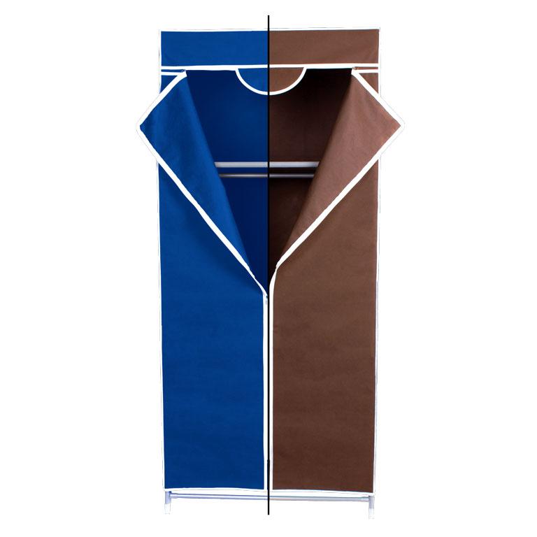 Гардероб для хранения одежды Miolla, цвет: синий, коричневый, 150 х 67 х 42 смUP210DFГардероб Miolla - это идеальное решение для хранения одежды, обуви и аксессуаров. Само изделие выполнено из нетканого материала, а каркас - из прочного металла, благодаря чему изделие не деформируется и отлично сохраняет форму. Гардероб имеет перекладину и верхнюю полку. Такой гардероб поможет с легкостью организовать пространство в шкафу или гардеробе.