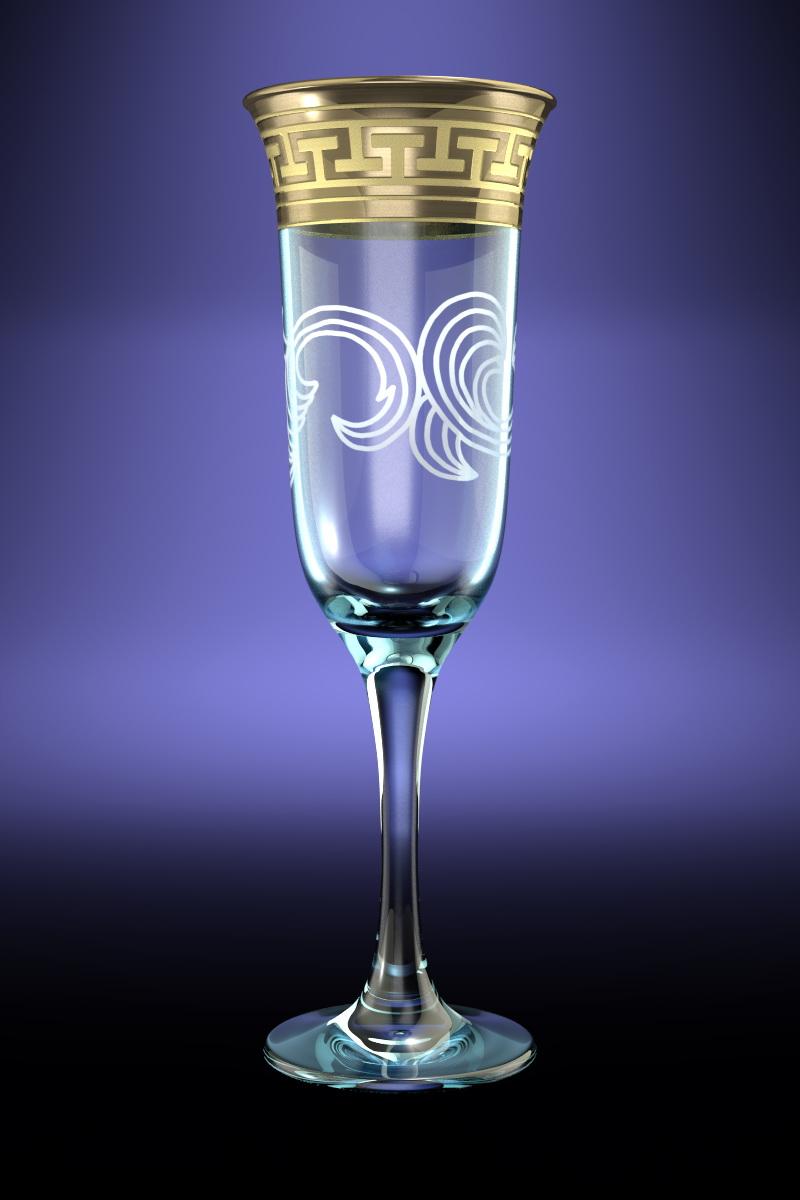 Набор 6 бокалов Ююнона  с рисунком Греческий узор 210 млGE01-883Набор 6 бокалов Ююнона  с рисунком Греческий узор 210 мл стекло