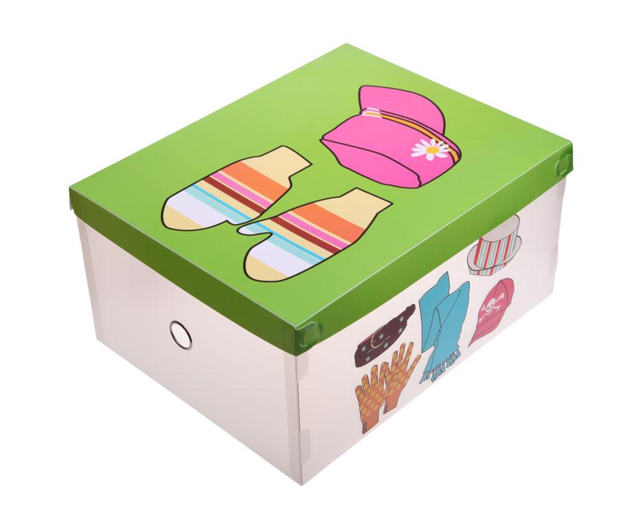 Короб для хранения одежды Miolla, 36 см х 28,5 см х 18 смZ-0307Короб для хранения одежды Miolla изготовлен из полипропилена, оформлен красочным изображением шарфов, шапок и варежек. Предназначен для хранения одежды, головных уборов и аксессуаров. Снабжен крышкой, которая поможет защитить вещи от моли, пыли и влаги. В таком коробе очень удобно хранить вещи, они всегда будут в порядке и не потеряются. Яркий и практичный короб станет хорошим приобретением и пригодится в каждом доме.