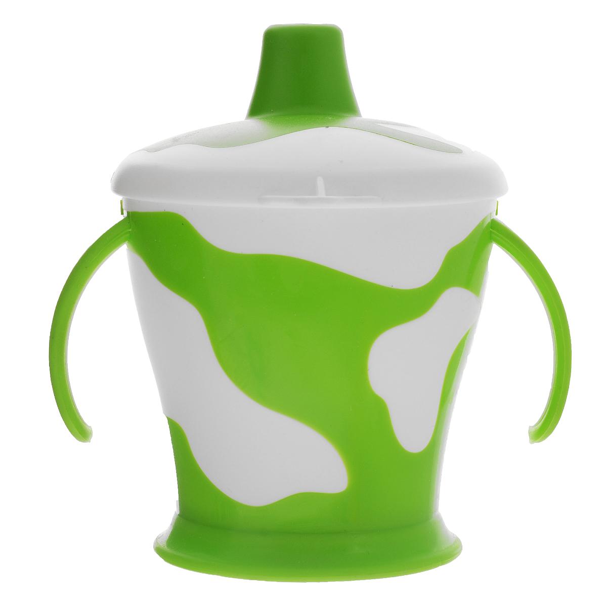 Canpol Babies Поильник-непроливайка Коровка с ручками цвет зеленый 250 мл
