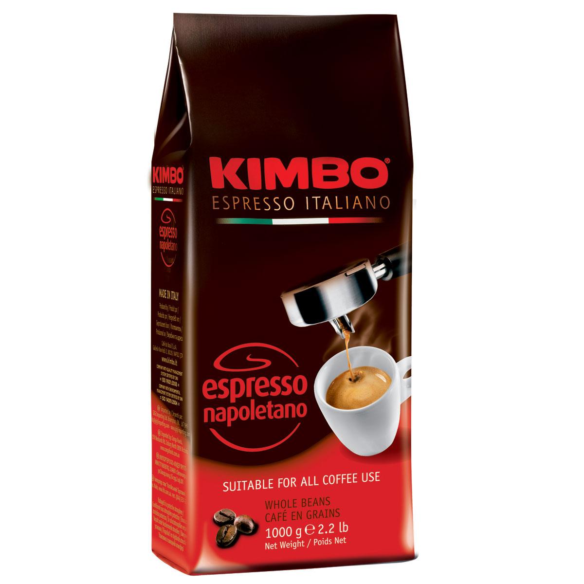 Kimbo Espresso Napoletano кофе в зернах, 1 кг0120710Натуральный жареный кофе в зернах Kimbo Espresso Napoletano с интенсивным вкусом и богатым ароматом. Традиционная неаполитанская обжарка характеризуется густой пенкой. Идеально подходит для любителей крепкого эспрессо. Смесь содержит 90% арабики и 10% робусты.