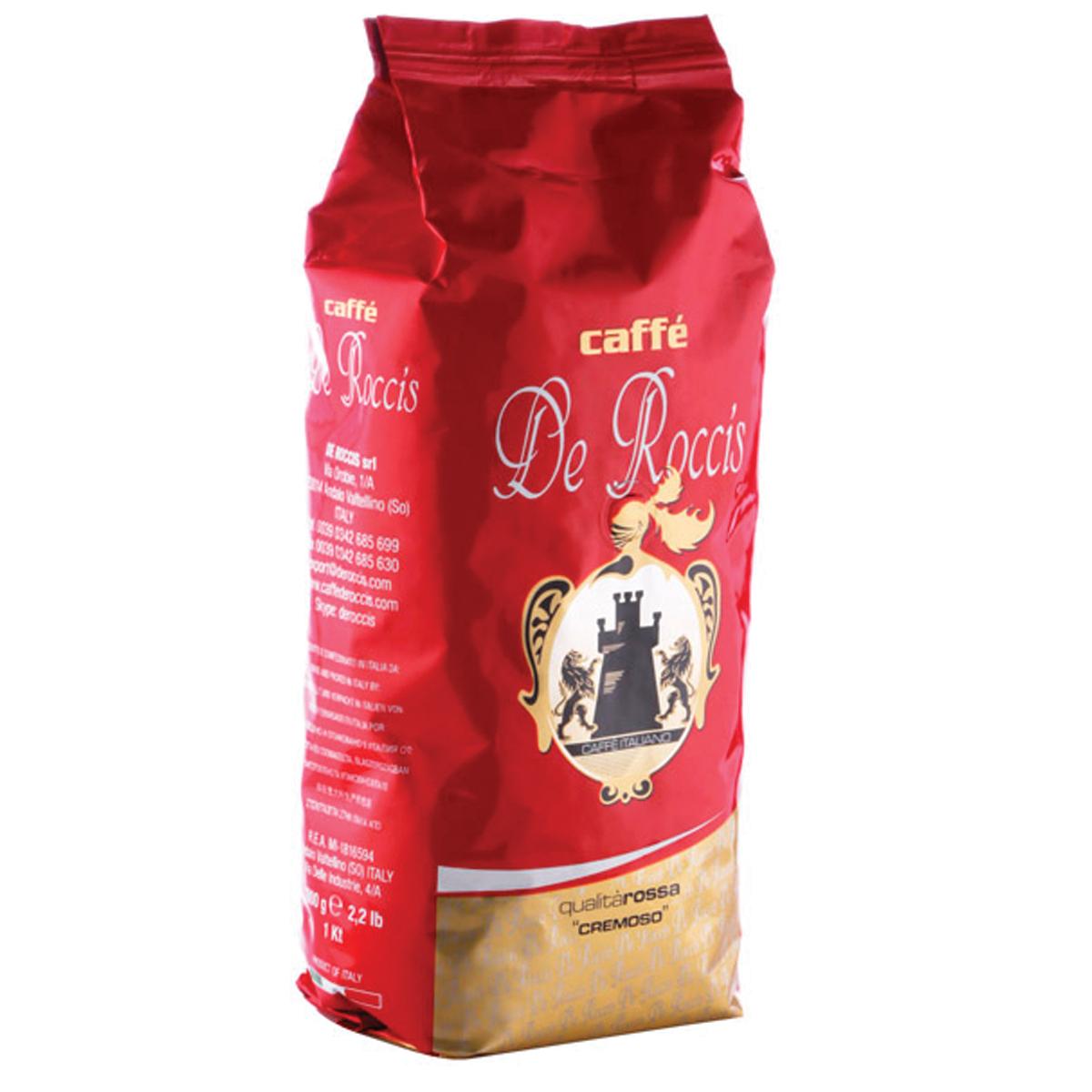 De Roccis Rossa кофе в зернах, 1 кг8016115000158Кофе натуральный жареный в зернах De Roccis Rossa. Кофейная смесь средней сладости из лучших сортов кофе Робуста и Арабика, придающих ей более четкий вкус, длительное послевкусие и тонкий аромат. Классический Итальянский эспрессо. Состав смеси: 85% арабика, 15% робуста.