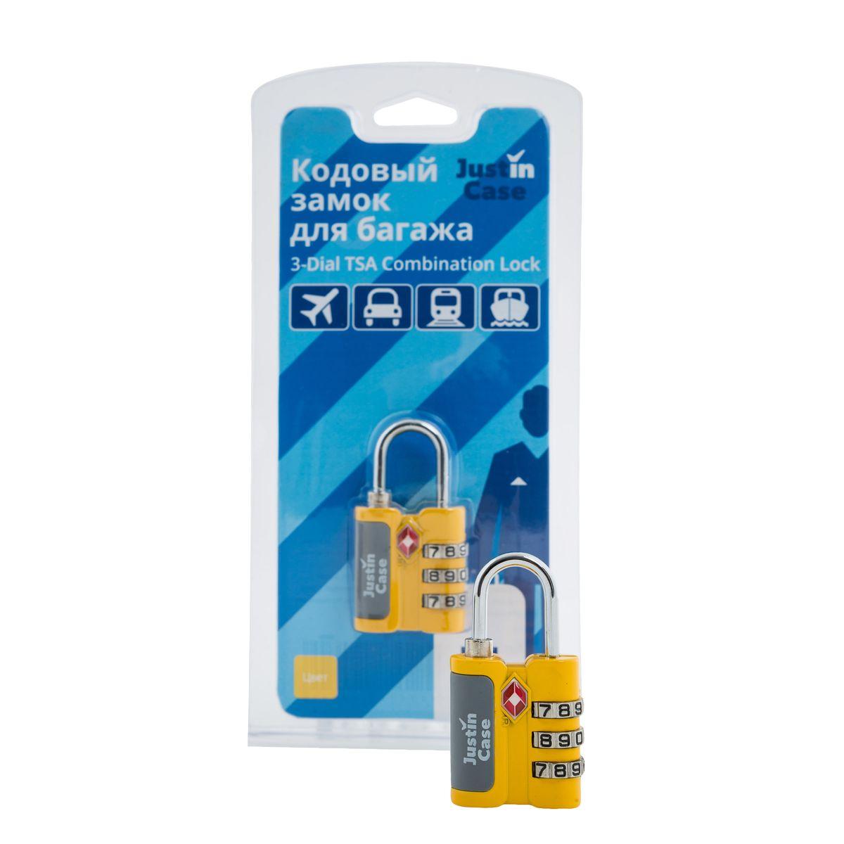 Замок для багажа JustinCase 3-Dial TSA Combination Lock, цвет: желтый4670018862011Еще один вариант защиты багажа - компактный кодовый багажный замок. Кодовый замок JustinCase 3-Dial TSA Combination Lock отличается от обычного тем, что вы можете установить собственную, известную только вам комбинацию цифр, без которой кодовый замок для багажа просто не откроется. Замок этот очень прочен - изготовлен из цинкового сплава. Если в вашем багаже есть хоть одна ценная вещь, такой замок позволит вам спокойно сдавать чемоданы и сумки багажным службам.