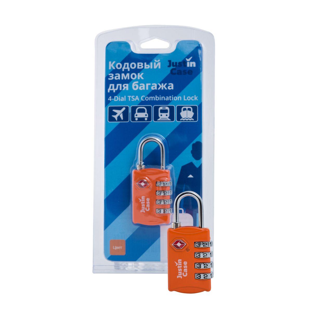 Замок кодовый для багажа JustinCase 4-Dial TSA Combination Lock, цвет: оранжевый22-0570 SЕще один вариант защиты багажа - компактный кодовый багажный замок. Кодовый замок JustinCase 4-Dial TSA Combination Lock отличается от обычного тем, что вы можете установить собственную, известную только вам комбинацию цифр, без которой кодовый замок для багажа просто не откроется. Замок этот очень прочен - изготовлен из цинкового сплава. Если в вашем багаже есть хоть одна ценная вещь, такой замок позволит вам спокойно сдавать чемоданы и сумки багажным службам.