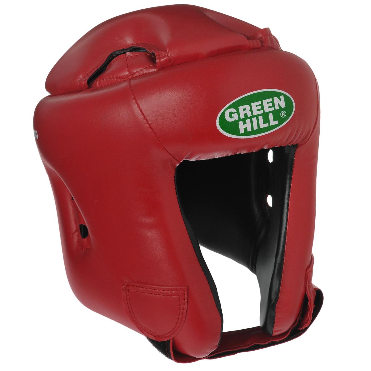 Шлем боксерский Green Hill Brave, цвет: красный. Размер L (57-60 см)Пояс УТ-0000Шлем Green Hill Brave с усиленной защитой теменной области предназначен для занятий боксом и кикбоксингом. Подходит для тренировок и соревнований. Крепления сзади на резинке и под подбородком на липучке крепко удерживают шлем на голове. Верх выполнен из высококачественного кожзаменителя, подкладка из искусственной замши.