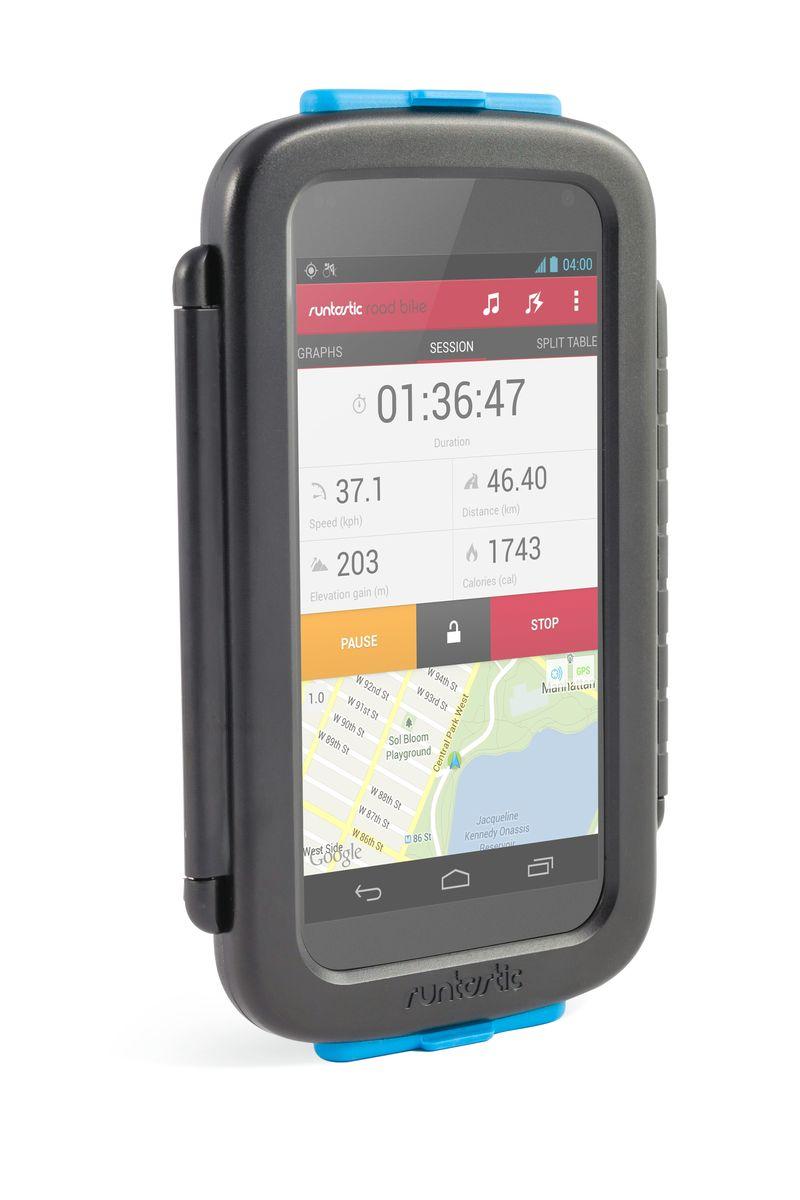 Крепление велосипедное для смартфонов Runtastic, цвет: черныйDAC0-SW608C-BA01Универсальное велосипедное крепление Runtastic для смартфонов выполнено из прочного пластика с резиновыми заглушками сверху и снизу.Особенности крепления:Ударо- и пылезащитный корпус. Возможность работать с сенсорным экраном, использовать обе камеры и наушники. Устанавливается без использования инструментов на руль или вынос велосипеда. Смартфон можно установить горизонтально или вертикально на креплении. Мягкие проставки позволят разместить в чехле почти любой смартфон. Подходит для: iPhone 4/4S/5/5S/5C/6, Samsung S3/S4/S5 и других. Промо-код от платной версии приложения в комплекте. Максимальный размер смартфона: 14,2 см х 7,3 см х 0,8 см.