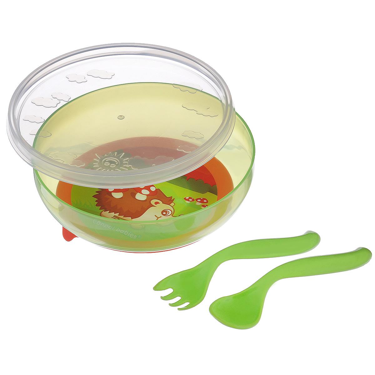 Canpol Babies Набор детской посуды цвет зеленый 4 предмета21/300_зеленый