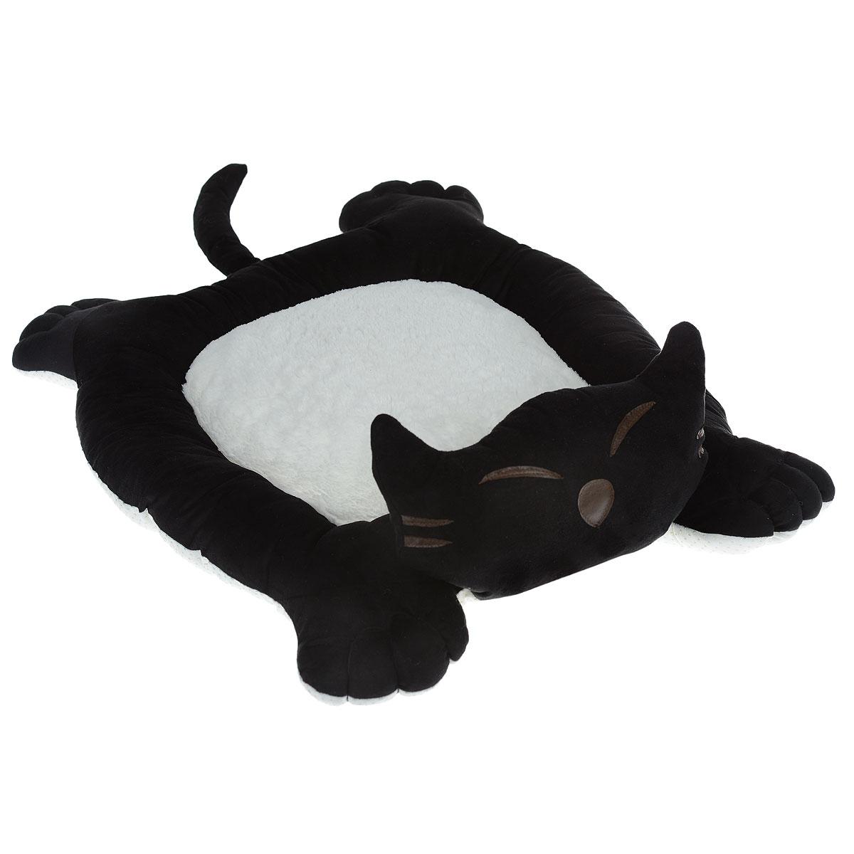 Лежак для собак и кошек I.P.T.S. Sylvester, цвет: черный, белый, 56 см х 44 см х 14,5 см19208_черный/белыйМягкий и уютный лежак для кошек и собак I.P.T.S. Sylvester обязательно понравится вашему питомцу. Лежак выполнен в виде кота. Он изготовлен из нежного, приятного материала. Внутри - мягкий наполнитель, который не теряет своей формы долгое время. Мягкий, приятный и теплый лежак обеспечит вашему любимцу уют и комфорт. Подходит как для кошек, так и для маленьких, карликовых пород собак. За изделием легко ухаживать, можно стирать вручную или в стиральной машине при температуре 30°С. Материал бортиков: искусственная замша. Материал матрасика: плюш. Наполнитель: полифибер. Товар сертифицирован.