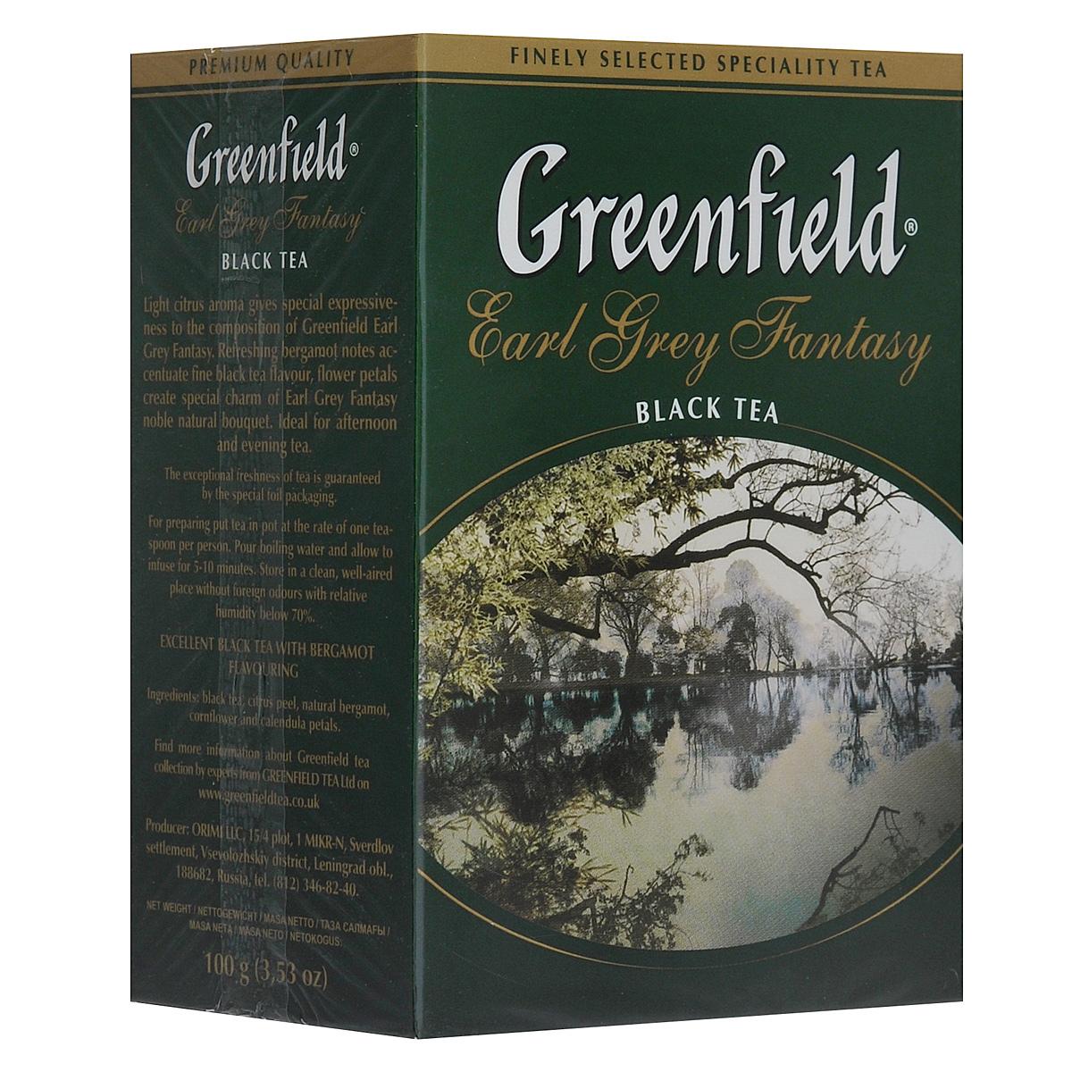 Greenfield Earl Grey Fantasy черный листовой чай, 100 г0426-14Легкий шлейф цитрусовых ароматов придает особую выразительность изящной композиции Greenfield Earl Grey Fantasy. Освежающий оттенок бергамота акцентирует вкус элитного черного чая в изысканном букете Greenfield Earl Grey Fantasy. Он идеально подходит для послеполуденного и вечернего чаепития.