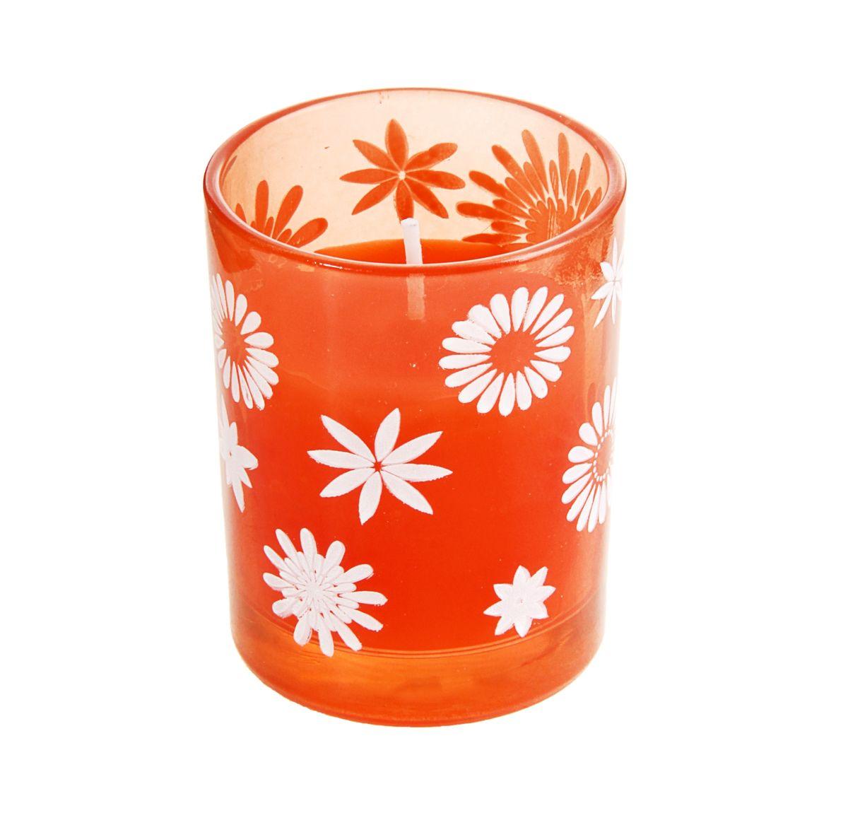 Свеча Sima-land Цветочки, цвет: оранжевый, белый, высота 6 см167183Свеча Sima-land Цветочки изготовлена из воска и поставляется в подсвечнике в виде стеклянного стакана, оформленного изображениями цветов. Изделие отличается оригинальным дизайном и изяществом. Такая свеча может стать отличным подарком или дополнить интерьер вашей комнаты.