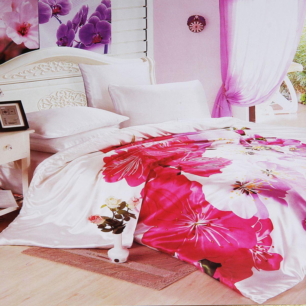 Комплект белья Этель Цветение, евро, наволочки 70x70, 50х70, цвет: розовый, белый171669Комплект постельного белья Этель Цветение состоит из пододеяльника на молнии, простыни и четырех наволочек. Удивительной красоты 3D рисунок, нанесенный на белье, сочетает в себе нежность и теплоту. Постельное белье Этель Цветение создано для романтичных натур, которые любят изысканный дизайн. Белье изготовлено из искусственного шелка, отвечающего всем необходимым нормативным стандартам. Шелковая ткань очень прочная и мягкая, ее особая структура делает пребывание в постели комфортным. Неоспоримым плюсом белья из такой ткани является легкость, оно не мнется и отлично впитывает влагу, обеспечивает хорошую циркуляцию воздуха. Ткань устойчива к воздействию света (не выцветает и не линяет), сохраняя первозданную яркость красок. При соблюдении рекомендаций по уходу белье выдерживает много стирок, не теряет свою прочность. Уникальная ткань обеспечивает легкую глажку. Приобретая комплект постельного белья Этель Цветение, вы можете быть...