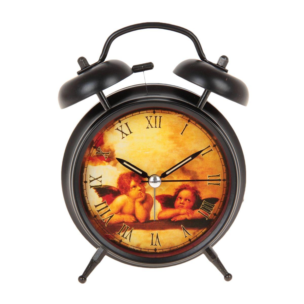 Часы-будильник Sima-land Ангелы Рафаэля. 669608VT-3527(BK)Как же сложно иногда вставать вовремя! Всегда так хочется поспать еще хотя бы 5 минут и бывает, что мы просыпаем. Теперь этого не случится! Яркий, оригинальный будильник Sima-land Ангелы Рафаэля поможет вам всегда вставать в нужное время и успевать везде и всюду.Корпус будильника выполнен из металла. Циферблат оформлен изображением ангелов по мотивам картин Рафаэля. Часы снабжены 4 стрелками (секундная, минутная, часовая и для будильника). На задней панели будильника расположен переключатель включения/выключения механизма, а также два колесика для настройки текущего времени и времени звонка будильника. Изделие снабжено подсветкой, которая включается нажатием на кнопку с задней стороны корпуса. Часовая и минутная стрелки покрыты люминесцентным раствором, светящимся в темноте. Пользоваться будильником очень легко: нужно всего лишь поставить батарейку, настроить точное время и установить время звонка. Необходимо докупить 1 батарейку типа АА (не входит в комплект).