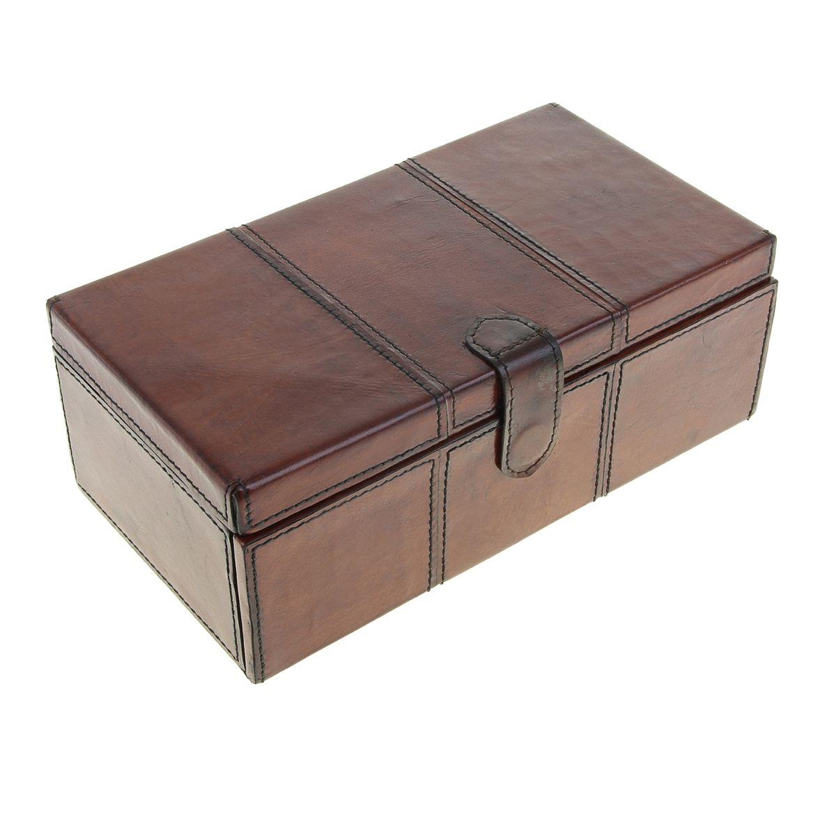 Шкатулка Sima-land, цвет: коричневый, 28,5 см х 15,5 см х 11 см699573Великолепная шкатулка Sima-land для бижутерии не оставит равнодушной ни одну любительницу изысканных вещей. Шкатулка выполнена в виде сундучка из МДФ, обтянутого кожей буйвола. Внутренняя поверхность шкатулки отделана текстилем бежевого цвета. Шкатулка закрывается на магнитный замок. Внутри имеется четыре отделения, одно из которых закрывается на крышку. Внизу имеется два выдвижных потайных отделения. На внутренней стороне крышки имеется зеркальце. Сочетание оригинального дизайна и функциональности сделает такую шкатулку практичным, стильным подарком и предметом гордости ее обладательницы. Размер зеркала: 22 см х 9 см.
