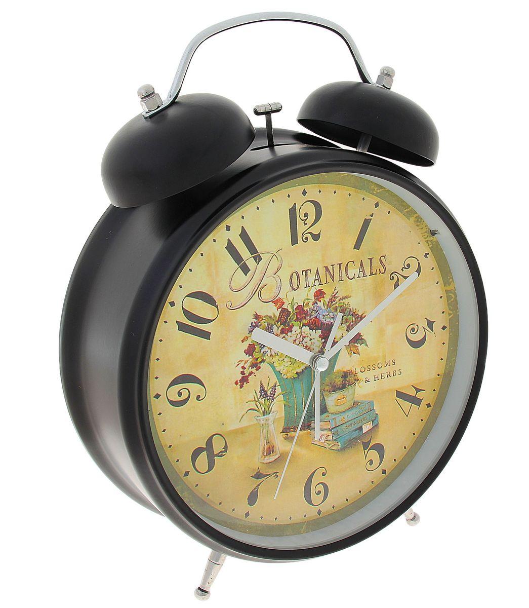 Часы-будильник Sima-land Botanicals, цвет: черный, бежевый, диаметр 20 см720871Часы-будильник Sima-land Botanicals - это невероятных размеров устройство, созданное специально для тех, кто с трудом просыпается по утрам! Изделие обладает оригинальным интересным дизайном. Такой будильник станет изюминкой вашего интерьера. Будильник работает от 3 батареек типа АА 1,5 В (в комплект не входят). На задней панели будильника расположены переключатель включения/выключения механизма, два поворотных рычага для настройки текущего времени и установки будильника, а также кнопка для включения подсветки циферблата. Диаметр циферблата: 20 см.