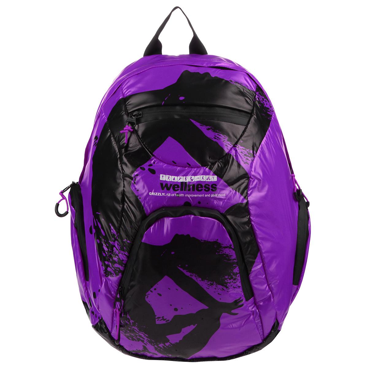 Рюкзак городской Grizzly, цвет: фиолетовый, черный. RD-418-1/4RD-418-1/4Стильный рюкзак Grizzly выполнен из нейлона фиолетового цвета и оформлен черным оригинальным принтом. Рюкзак имеет одно отделение, закрывающееся на застежку-молнию с двумя бегунками. Внутри отделения имеется большой врезной карман на молнии. На лицевой стороне расположены врезной и накладной карманы, так же на молнии. Внутри накладного кармана имеются открытый карман и карман-сетка на молнии. По бокам рюкзак снабжен двумя накладными кармашками на молнии. Рюкзак оснащен плечевыми лямками регулируемой длины из нейлона и короткой ручкой. Стильный рюкзак эффектно дополнит ваш яркий образ.