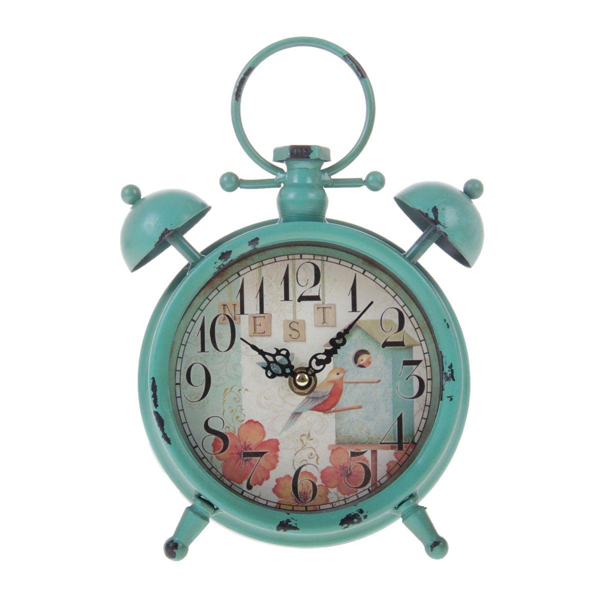 Часы настольные Sima-land Скворечник, в виде будильника, цвет: бирюзовый, диаметр 12,5 см840843Настольные часы Sima-land Скворечник своим эксклюзивным дизайном подчеркнут оригинальность интерьера вашего дома. Изделие выполнено в форме будильника, оснащено ножками, ручкой для переноски и двумя декоративными звоночками. Часы изготовлены из металла и украшены изящным изображением птиц в скворечнике. Имеют две стрелки - часовую и минутную. Циферблат оформлен крупными арабскими цифрами и защищен стеклом. Настольные часы Sima-land Скворечник станут прекрасным аксессуаром для вашего дома, либо прекрасным подарком, который обязательно понравится получателю. Часы работают от 1 батарейки типа АА (в комплект не входит).