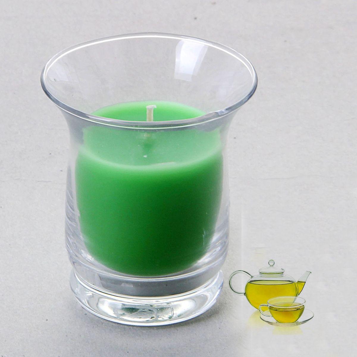 Свеча ароматизированная Sima-land Романтика, с ароматом зеленого чая, цвет: зеленый, высота 7,5 см849622Ароматизированная свеча Sima-land Романтика изготовлена из воска и расположена в стеклянном стакане. Изделие отличается оригинальным дизайном и приятным запоминающимся ароматом. Свеча Sima-land Романтика - это прекрасный выбор для тех, кто хочет сделать запоминающийся презент родным и близким. Она поможет создать атмосферу праздника. Такой подарок запомнится надолго.