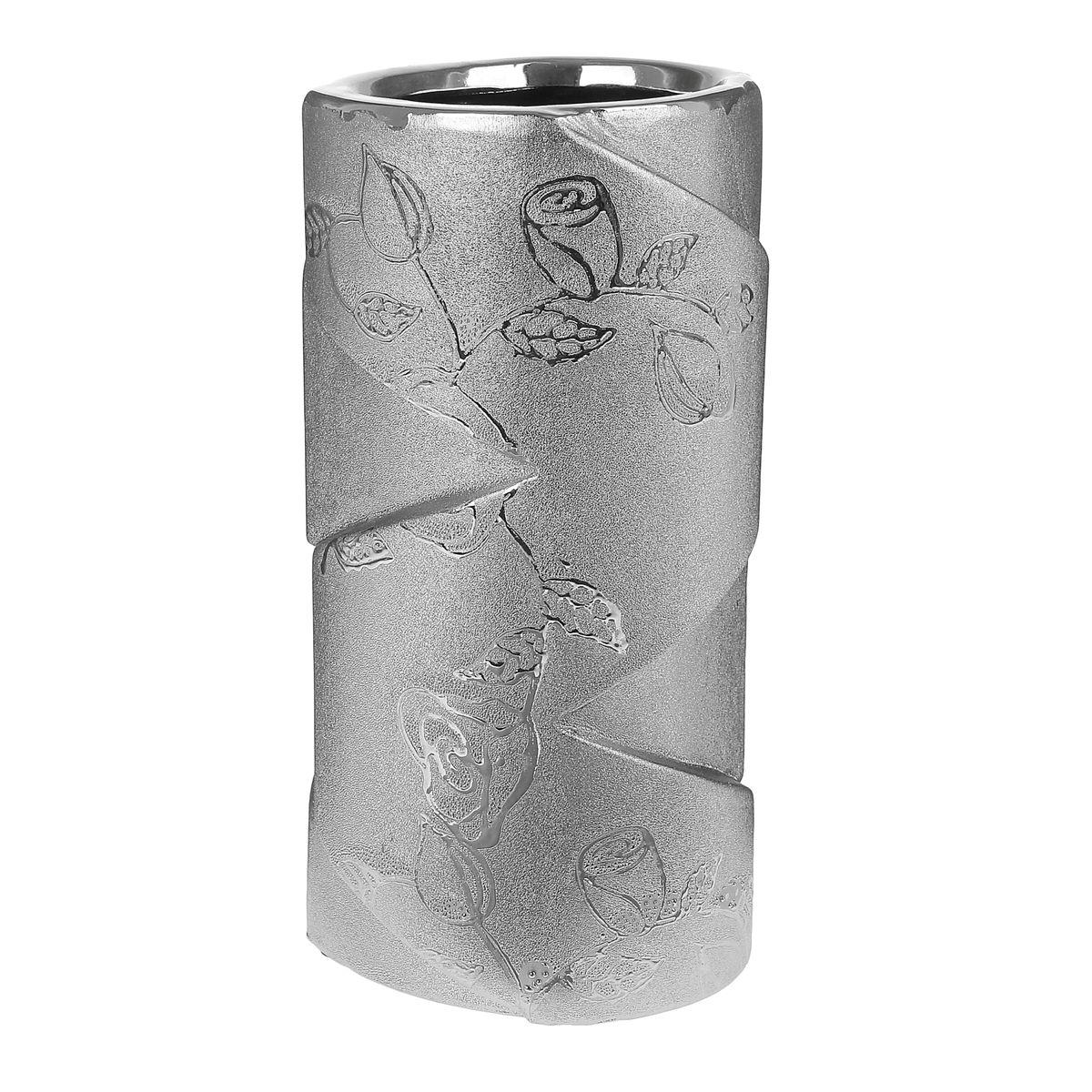 Ваза керамика серебрянная роза 18*9,5 см 863633 салатник кубаньфарфор роза кавказа 18 5 х 18 5 см
