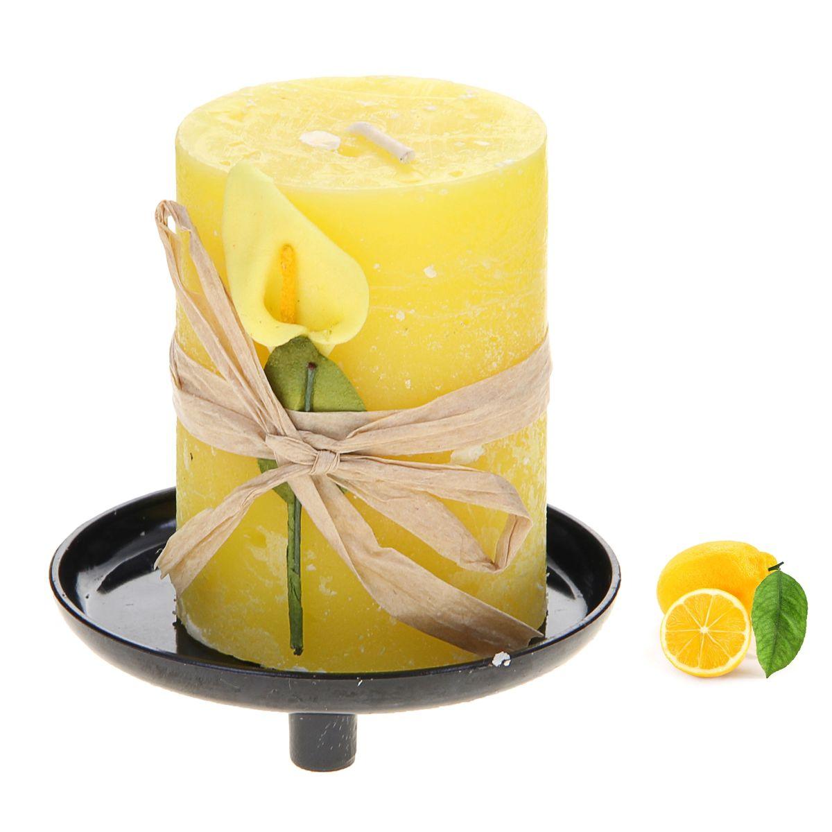 Свеча ароматизированная Sima-land Лимон, на подставке, высота 6 см907697Свеча Sima-land Лимон выполнена из воска в виде столбика. Свеча порадует ярким дизайном и сочным ароматом лимона, который понравится как женщинам, так и мужчинам. Изделие размещено на оригинальной пластиковой подставке. Создайте для себя и своих близких незабываемую атмосферу праздника в доме. Ароматическая свеча Sima-land Лимон раскрасит серые будни яркими красками. Высота свечи (без учета подставки): 6 см. Высота подставки: 1,5 см.