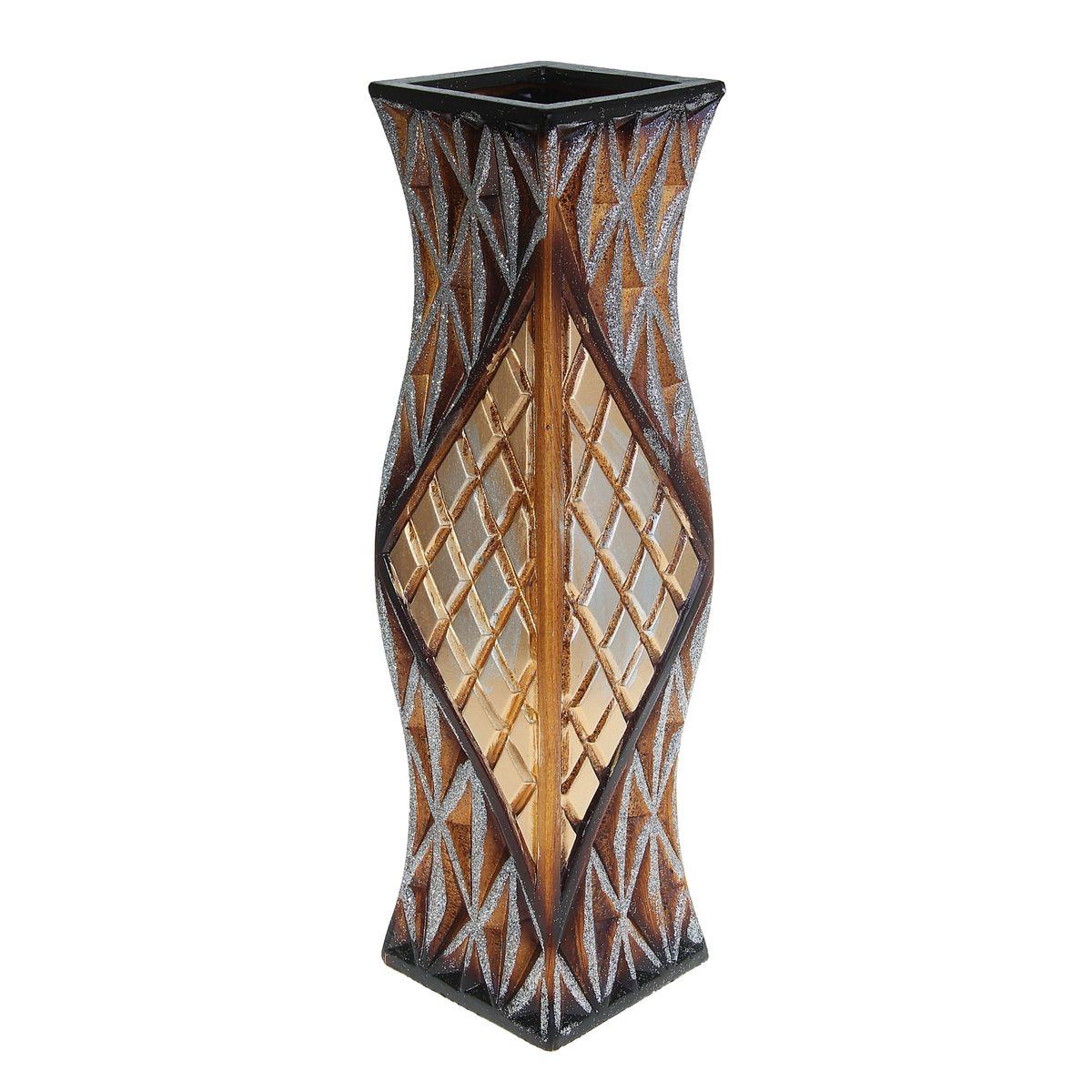 Ваза напольная Ромбы, цвет: коричневый, высота 60 см. 913778913778Керамика