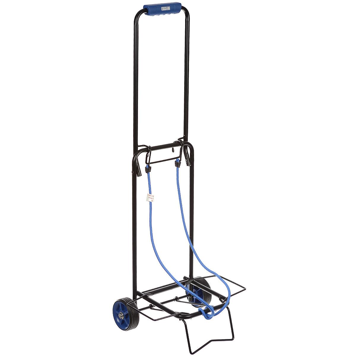 Тележка хозяйственная Atos, до 30 кг, цвет: синий15040400_синийХозяйственная тележка Atos, выполненная из окрашенной стали и пластика, пригодится каждой хозяйке! Тележка предназначена для перевозки различных грузов: чемоданов, коробок. Тележка имеет эластичные ремни для крепления груза. Компактно собирается и не занимает много места. Размер в собранном виде: 31 см x 28 см x 86 см. Максимальная нагрузка: 30 кг.