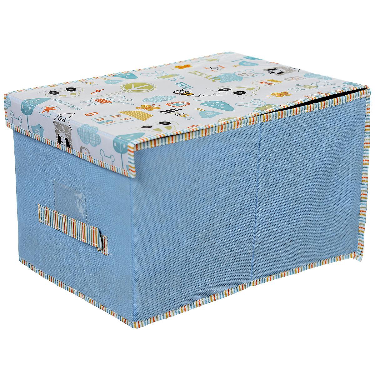 Чехол-коробка Cosatto Беби, цвет: голубой, 30 х 40 х 25 см96515412Чехол-коробка Cosatto Беби поможет легко и красиво организовать пространство в детской комнате. Изделие выполнено из полиэстера и нетканого материала, прочность каркаса обеспечивается наличием внутри плотных и толстых листов картона. Чехол-коробка закрывается крышкой на две липучки, что поможет защитить вещи от пыли и грязи. Сбоку имеется ручка. Такой чехол идеально подойдет для хранения игрушек и детских вещей. Привлекательный дизайн изделия привлечет внимание ребенка и вызовет у него желание самостоятельно убирать игрушки. Складная конструкция обеспечивает компактное хранение.
