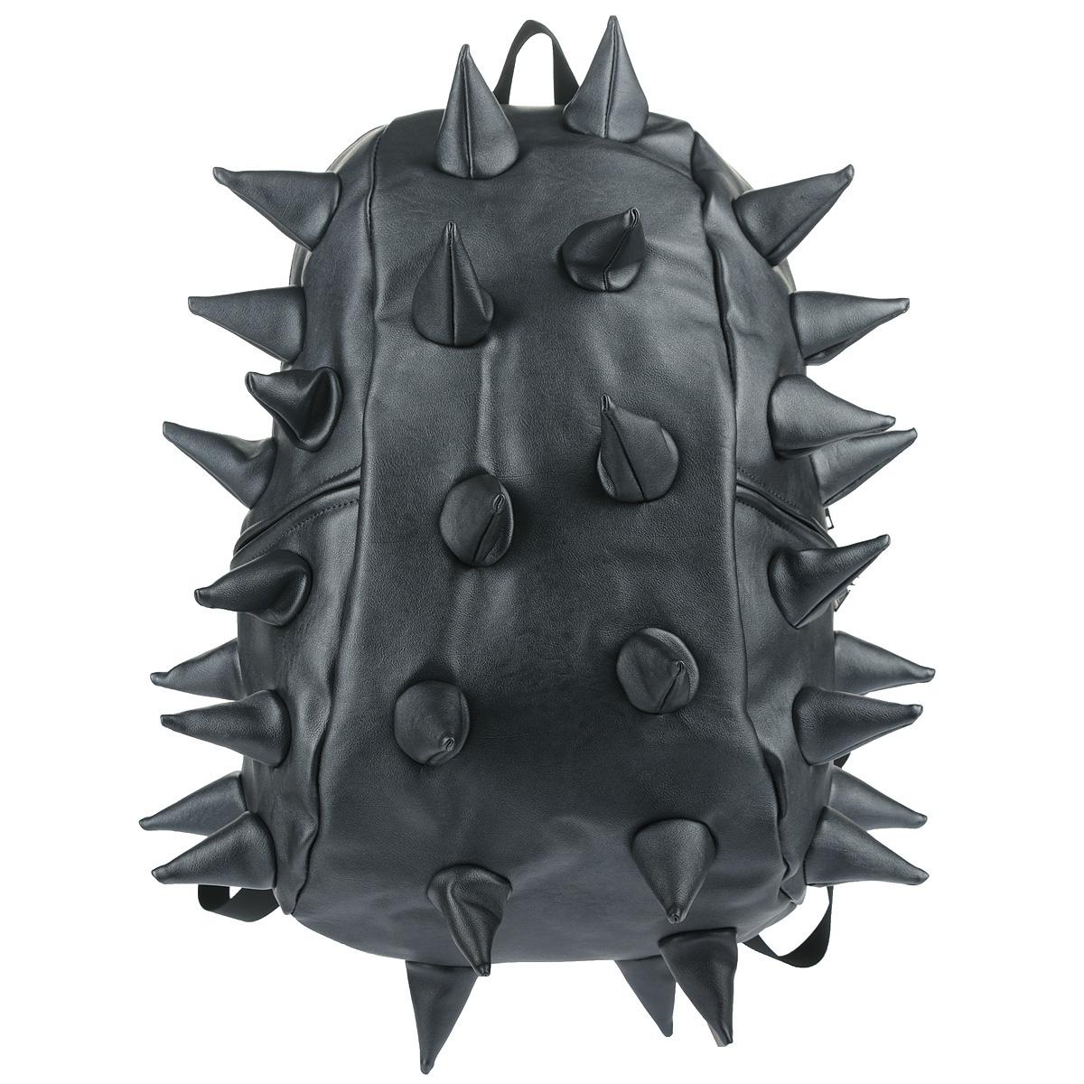"""Рюкзак городской MadPax Rex Full. Heavy Metal Spike, цвет: синий, 27 лKZ24483402Городской рюкзак MadPax Rex Full. Heavy Metal Spike - это стильный и практичный аксессуар, который станет незаменимым в ритме большого города. Верх рюкзака выполнен из 100% полиуретана с эффектом металлического глянца, шипы придают изделию неповторимый дизайн. Подкладка изготовлена из нейлона. Рюкзак имеет одно основное отделение на застежке-молнии. Размер Full позволяет поместить внутрь ноутбук с диагональю экрана 17"""", для этого предусмотрен специальный отдел с мягкими стенками, закрывающийся хлястиком на липучку. Также внутри содержится небольшой карман на молнии. Снаружи по бокам у рюкзака два кармана на молнии для разных мелочей. Сзади расположен кармашек из прозрачного ПВХ для визитки. Модель оснащена ручкой для переноски в руке, а также широкими плечевыми лямками с многослойной структурой, которые можно регулировать по длине. Специальная застежка-крепление соединяет и фиксирует лямки в районе груди, это позволяет равномерно распределить нагрузку на плечи и спину..."""