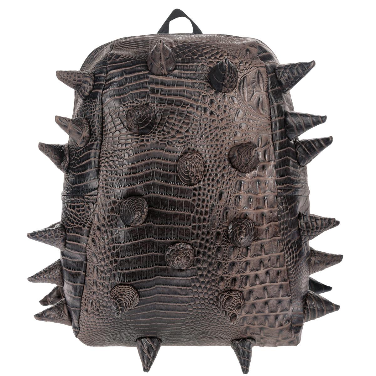 Рюкзак городской MadPax Gator Half, цвет: коричневый, 16 лMW-1462-01-SR серебристыйГородской рюкзак MadPax Gator Half - это стильный и практичный аксессуар, уместный в ритме большого города. Верх рюкзака выполнен из 100% поливинила с тиснением под рептилию, шипы придают изделию неповторимый дизайн. Подкладка изготовлена из нейлона. Рюкзак имеет одно основное отделение, которое закрывается на застежку-молнию. Внутри поместится ноутбук с диагональю 13, iPad и бумаги формата А4. Также внутри содержится небольшой карман на молнии для мелких вещей. Модель оснащена ручкой для переноски в руке, а также мягкими и широкими плечевыми лямками, которые можно регулировать по длине. Полностью вентилируемая ортопедическая спинка создает дополнительный комфорт вашей спине. Сзади расположен кармашек из прозрачного ПВХ для визитки. MadPax - это крутые рюкзаки в стиле фанк, которые своим неповторимым дизайном бросают вызов монотонности и скуке. Эти уникальные рюкзаки помогают детям всех возрастов самовыражаться, а их внутренняя структура с отделениями, карманами и застежками-молниями делает их невероятно практичными. Материал: поливинил, нейлон, пластик, металл.