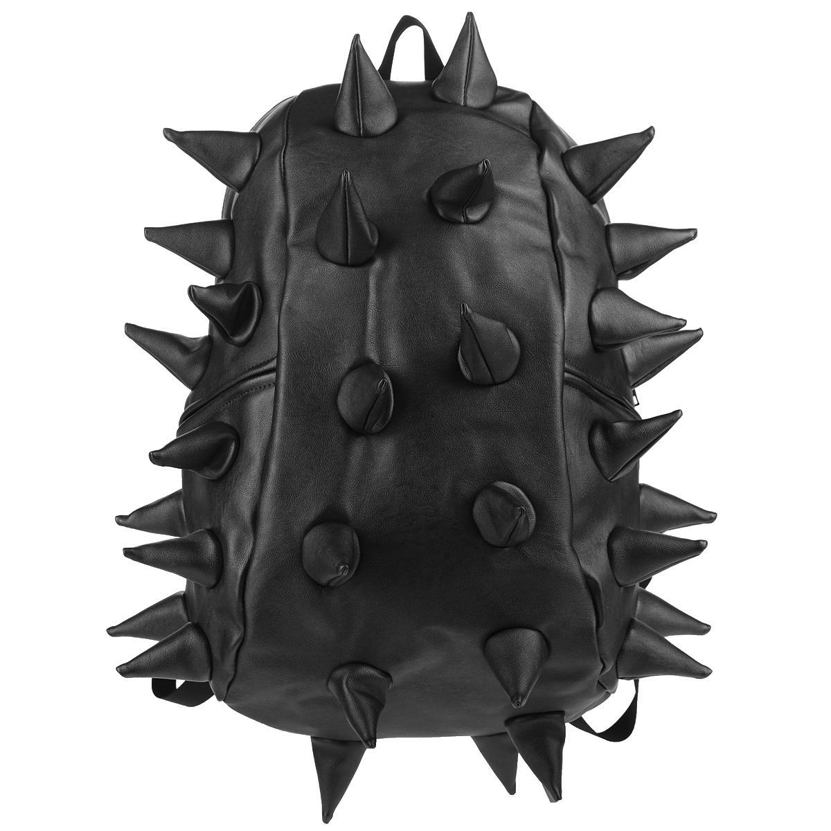 """Рюкзак городской MadPax Rex Full. Heavy Metal Spike, цвет: черный, 27 лKZ24483404Городской рюкзак MadPax Rex Full. Heavy Metal Spike - это стильный и практичный аксессуар, который станет незаменимым в ритме большого города. Верх рюкзака выполнен из 100% полиуретана с эффектом металлического глянца, шипы придают изделию неповторимый дизайн. Подкладка изготовлена из нейлона. Рюкзак имеет одно основное отделение на застежке-молнии. Размер Full позволяет поместить внутрь ноутбук с диагональю экрана 17"""", для этого предусмотрен специальный отдел с мягкими стенками, закрывающийся хлястиком на липучку. Также внутри содержится небольшой карман на молнии. Снаружи по бокам у рюкзака два кармана на молнии для разных мелочей. Сзади расположен кармашек из прозрачного ПВХ для визитки. Модель оснащена ручкой для переноски в руке, а также широкими плечевыми лямками с многослойной структурой, которые можно регулировать по длине. Специальная застежка-крепление соединяет и фиксирует лямки в районе груди, это позволяет равномерно распределить нагрузку на плечи и спину..."""