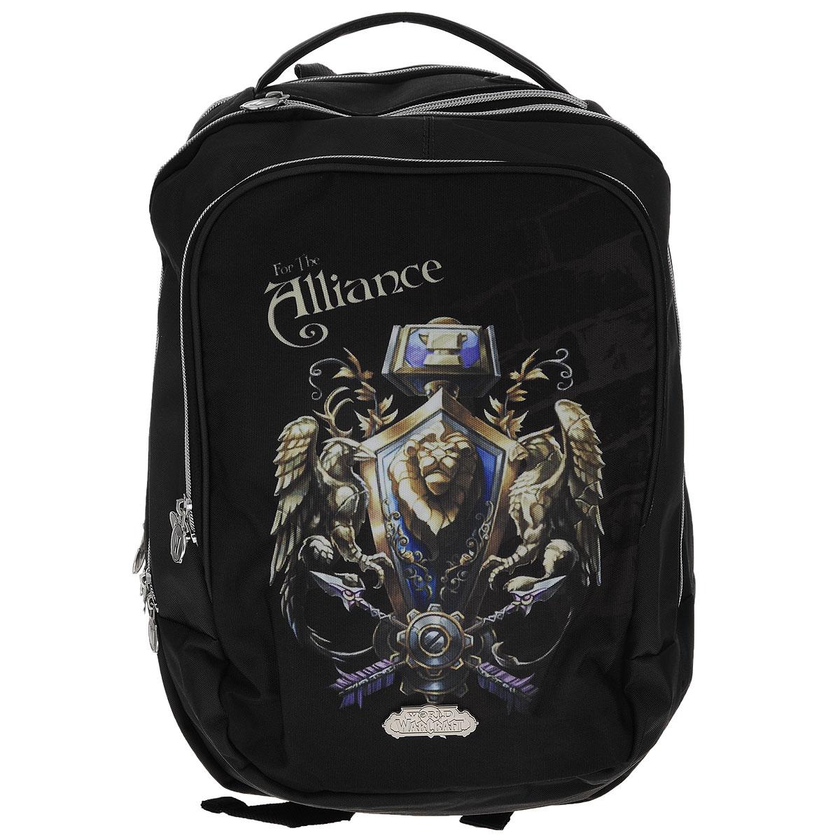 Рюкзак молодежный Proff World of Warcraft, цвет: черный, темно-серый. WC15-BPA-14BP-001 BKРюкзак молодежный Proff WarCraft сочетает в себе современный дизайн, функциональность и долговечность.Он выполнен из водонепроницаемого, морозоустойчивого материла черного и темно-серого цветов. Рюкзак состоит из двух вместительных отделений, закрывающихся на металлические застежки-молнии с двумя бегунками. Внутри отделения ближе к спине находится мягкий карман, закрывающийся хлястиком на липучке, который можно использовать для гаджетов, а также имеется открытый карман. Лицевая сторона рюкзака оснащена накладным карманом на молнии, внутри которого имеются три кармашка для пишущих принадлежностей, два открытых кармашка для мелких предметов и брелок для ключей. Рюкзак оснащен удобной эргономичной ручкой для переноски в руке. Под ручкой расположен специальный карман для плеера с выводом для наушников. Конструкция спинки дополнена двумя эргономичными подушечками, противоскользящей сеточкой и системой вентиляции для предотвращения запотевания спины ребенка. Мягкие широкие лямки позволяют легко и быстро отрегулировать рюкзак в соответствии с ростом.Этот рюкзак можно использовать для школьников, повседневных прогулок, отдыха и спорта, а также как элемент вашего имиджа.Рекомендуемый возраст: от 7 лет.
