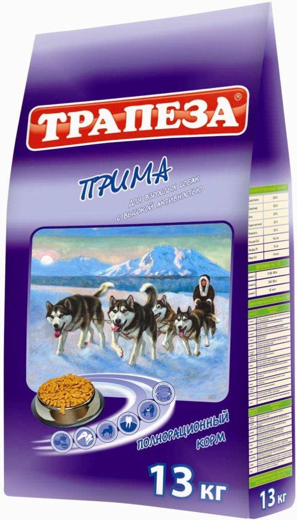 Корм сухой Трапеза Прима для активных собак, 13 кг02019Корм разработан специально для активных собак (содержащихся в вольере, а также в суровых климатических условиях) и имеет в своей основе три источника полноценного животного протеина: мясо, рыбу и курицу. Корм ПРИМА сбалансирован по уровню содержания ненасыщенных жирных кислот ОМЕГА-6 и ОМЕГА-3, их оптимальное соотношение (5:1) достигается сочетанием говяжьего, куриного и рыбьего жира, а также введением льняного масла. Высококачественные жиры, стабилизированные витаминами Е и С способствуют образованию и поддержанию отличного шерстного покрова, повышают иммунитет, обеспечивают организм Вашей собаки необходимой энергией. ПРОТЕИН - 25%, ЖИР - 12%, ЭНЕРГИЯ - 3600 кКал. Состав: говядина, мясо домашней птицы, мясные субпродукты, злаковые культуры, животные и растительные жиры, масла, витамины, минеральные вещества, микроэлементы.