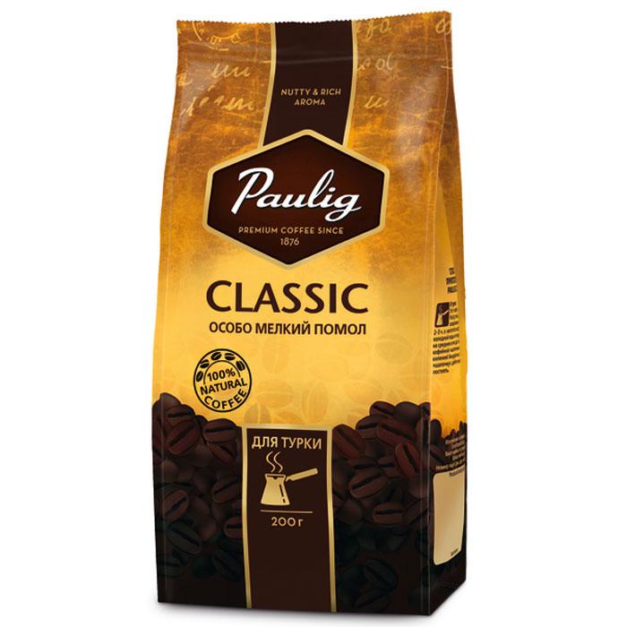 Paulig Classic кофе молотый для турки, 200 г101246Paulig Classic - великолепная натуральная кофейная смесь с богатым и продолжительным послевкусием. Большое количество российских потребителей предпочитают более крепкий (горький) кофе, поэтому специально для этого был сделан новый бленд Класик. В состав Paulig Classic входит робуста, которая придает кофе изысканную горчинку.