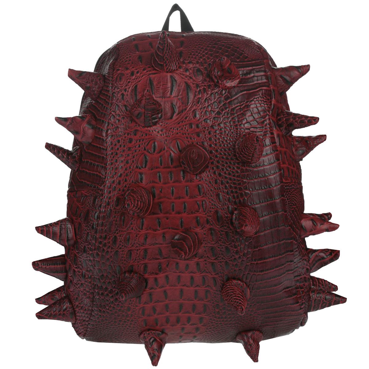 """Рюкзак городской MadPax Gator Half, цвет: красный, 16 лKZ24483484Городской рюкзак MadPax Gator Half - это стильный и практичный аксессуар, уместный в ритме большого города. Верх рюкзака выполнен из 100% поливинила с тиснением под рептилию, шипы придают изделию неповторимый дизайн. Подкладка изготовлена из нейлона. Рюкзак имеет одно основное отделение, которое закрывается на застежку-молнию. Внутри поместится ноутбук с диагональю 13"""", iPad и бумаги формата А4. Также внутри содержится небольшой карман на молнии для мелких вещей. Модель оснащена ручкой для переноски в руке, а также мягкими и широкими плечевыми лямками, которые можно регулировать по длине. Полностью вентилируемая ортопедическая спинка создает дополнительный комфорт вашей спине. Сзади расположен кармашек из прозрачного ПВХ для визитки. MadPax - это крутые рюкзаки в стиле фанк, которые своим неповторимым дизайном бросают вызов монотонности и скуке. Эти уникальные рюкзаки помогают детям всех возрастов самовыражаться, а их внутренняя структура с отделениями,..."""