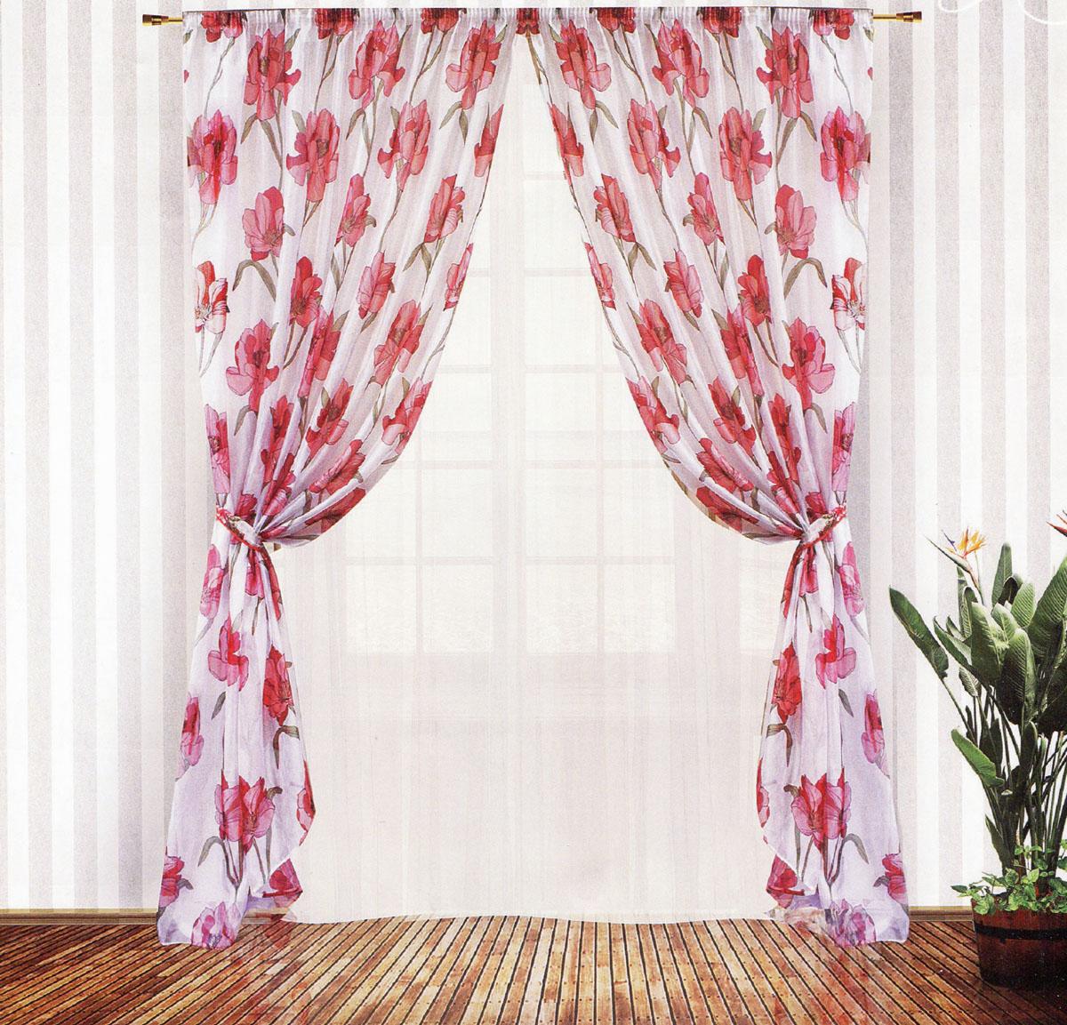 Комплект штор Zlata Korunka, на ленте, цвет: белый, красный, высота 250 см. 5554055540Роскошный комплект тюлевых штор Zlata Korunka, выполненный из вуали и микровуали (100% полиэстера), великолепно украсит любое окно. Комплект состоит из двух штор, тюля и двух подхватов. Полупрозрачная ткань, цветочный принт и приятная, приглушенная гамма привлекут к себе внимание и органично впишутся в интерьер помещения. Комплект крепится на карниз при помощи шторной ленты, которая поможет красиво и равномерно задрапировать верх. Шторы можно зафиксировать в одном положении с помощью двух подхватов. Этот комплект будет долгое время радовать вас и вашу семью! В комплект входит: Штора: 2 шт. Размер (ШхВ): 200 см х 250 см. Тюль: 1 шт. Размер (ШхВ): 400 см х 250 см. Подхват: 2 шт. Размер (ШхВ): 60 см х 10 см.