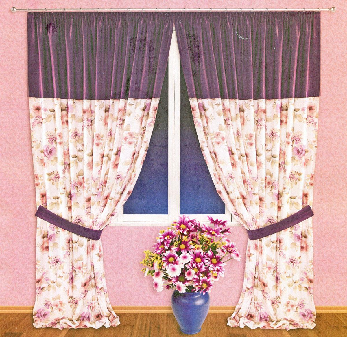 Комплект штор Zlata Korunka, на ленте, цвет: фиолетовый, высота 250 см. 5552055520Роскошный комплект тюлевых штор Zlata Korunka, выполненный из сатина (100% полиэстера), великолепно украсит любое окно. Комплект состоит из двух портьер и двух подхватов. Плотная ткань, цветочный принт и приятная, приглушенная гамма привлекут к себе внимание и органично впишутся в интерьер помещения. Комплект крепится на карниз при помощи шторной ленты, которая поможет красиво и равномерно задрапировать верх. Портьеры можно зафиксировать в одном положении с помощью двух подхватов. Этот комплект будет долгое время радовать вас и вашу семью! В комплект входит: Портьера: 2 шт. Размер (ШхВ): 200 см х 250 см. Подхват: 2 шт. Размер (ШхВ): 60 см х 10 см.
