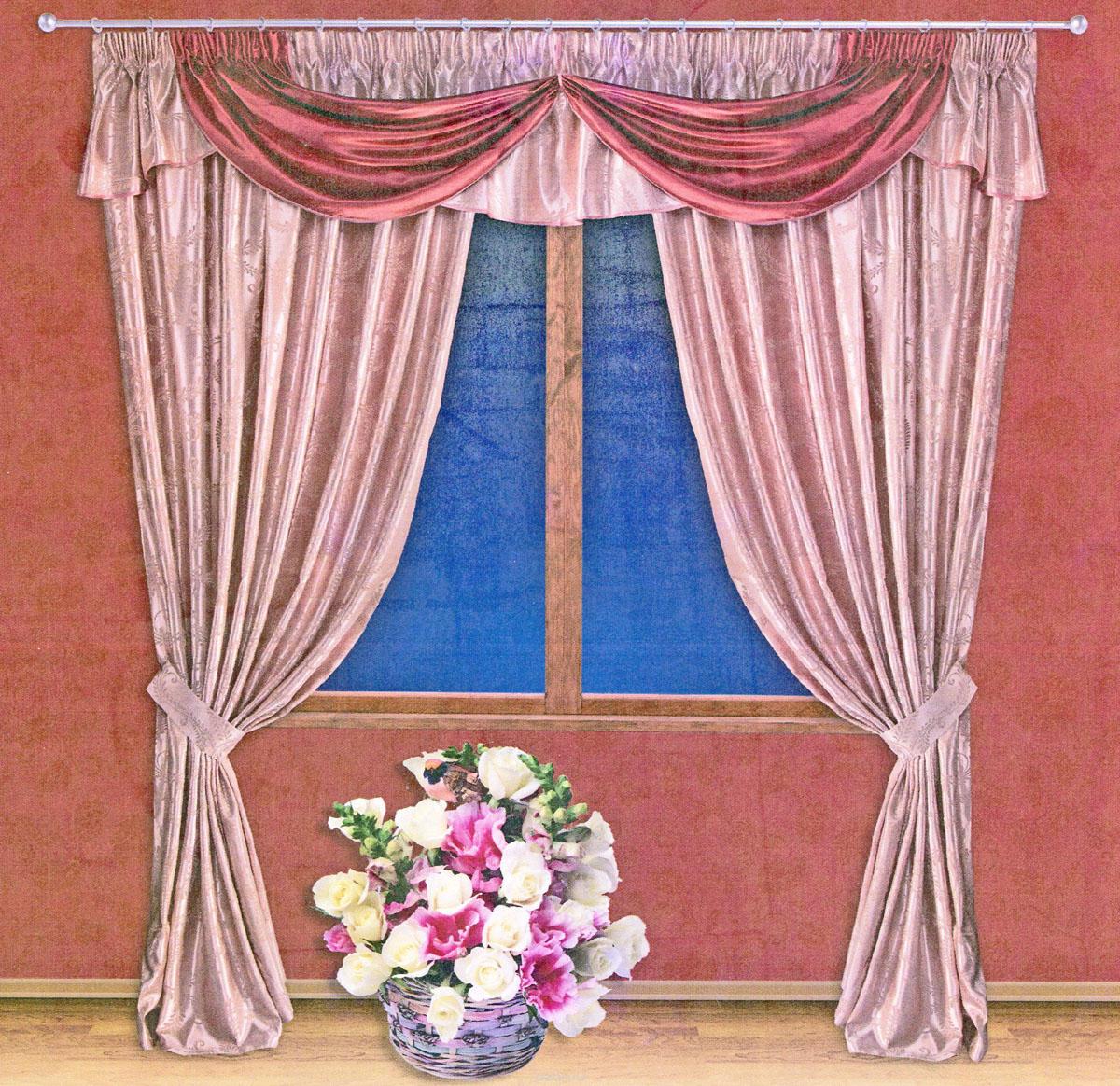 Комплект штор Zlata Korunka, на ленте, цвет: красный, бледно-розовый, высота 250 см. 55512S03301004Роскошный комплект штор Zlata Korunka, выполненный из ткани шанзализе, сатина и жаккарда (100% полиэстера), великолепно украсит любое окно. Комплект состоит из двух портьер, ламбрекена и двух подхватов. Плотная ткань, оригинальный орнамент и приятная, приглушенная гамма привлекут к себе внимание и органично впишутся в интерьер помещения. Комплект крепится на карниз при помощи шторной ленты, которая поможет красиво и равномерно задрапировать верх. Портьеры можно зафиксировать в одном положении с помощью двух подхватов. Этот комплект будет долгое время радовать вас и вашу семью! В комплект входит: Портьера: 2 шт. Размер (ШхВ): 200 см х 250 см. Ламбрекен: 1 шт. Размер (ШхВ): 450 см х 50 см.Подхват: 2 шт. Размер (ШхВ): 60 см х 10 см.