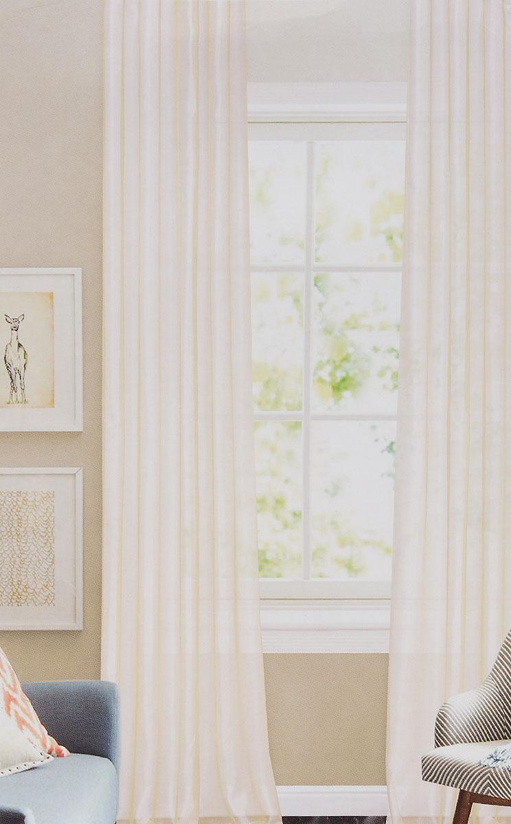 Штора готовая для гостиной Garden, на ленте, цвет: молочный, высота 260 см. C W875 V71002C W875 V71002Изящная тюлевая штора Garden выполнена из структурной органзы (100% полиэстера). Полупрозрачная ткань, приятный цвет привлекут к себе внимание и органично впишутся в интерьер помещения. Такая штора идеально подходит для солнечных комнат. Мягко рассеивая прямые лучи, она хорошо пропускает дневной свет и защищает от посторонних глаз. Отличное решение для многослойного оформления окон. Штора крепится на карниз при помощи ленты, которая поможет красиво и равномерно задрапировать верх.