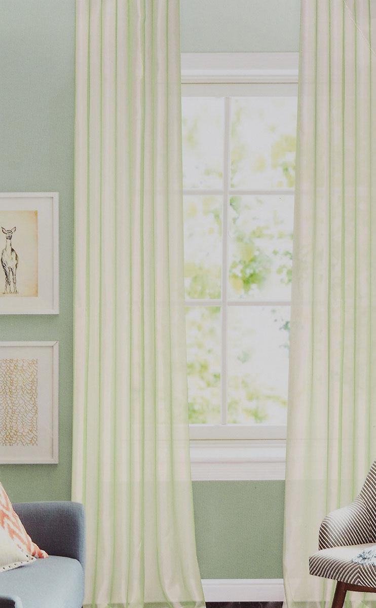 Штора готовая для гостиной Garden, на ленте, цвет: светло-зеленый, размер 300*260 см. C W875 V11C W875 V11Изящная тюлевая штора Garden выполнена из структурной органзы (100% полиэстера). Полупрозрачная ткань, приятный цвет привлекут к себе внимание и органично впишутся в интерьер помещения. Такая штора идеально подходит для солнечных комнат. Мягко рассеивая прямые лучи, она хорошо пропускает дневной свет и защищает от посторонних глаз. Отличное решение для многослойного оформления окон. Штора крепится на карниз при помощи ленты, которая поможет красиво и равномерно задрапировать верх.