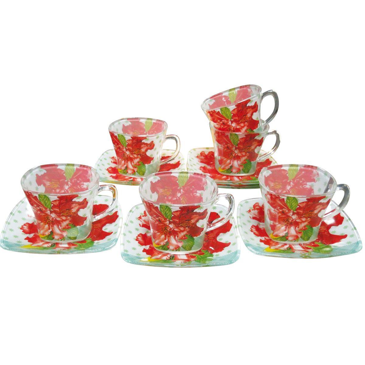 Набор чайный BK-5846 12прBK-584612пр.: чашка - 6шт. (220мл), блюдце - 6шт. (13,4*16см). Подарочная упаковка. Состав: стекло.