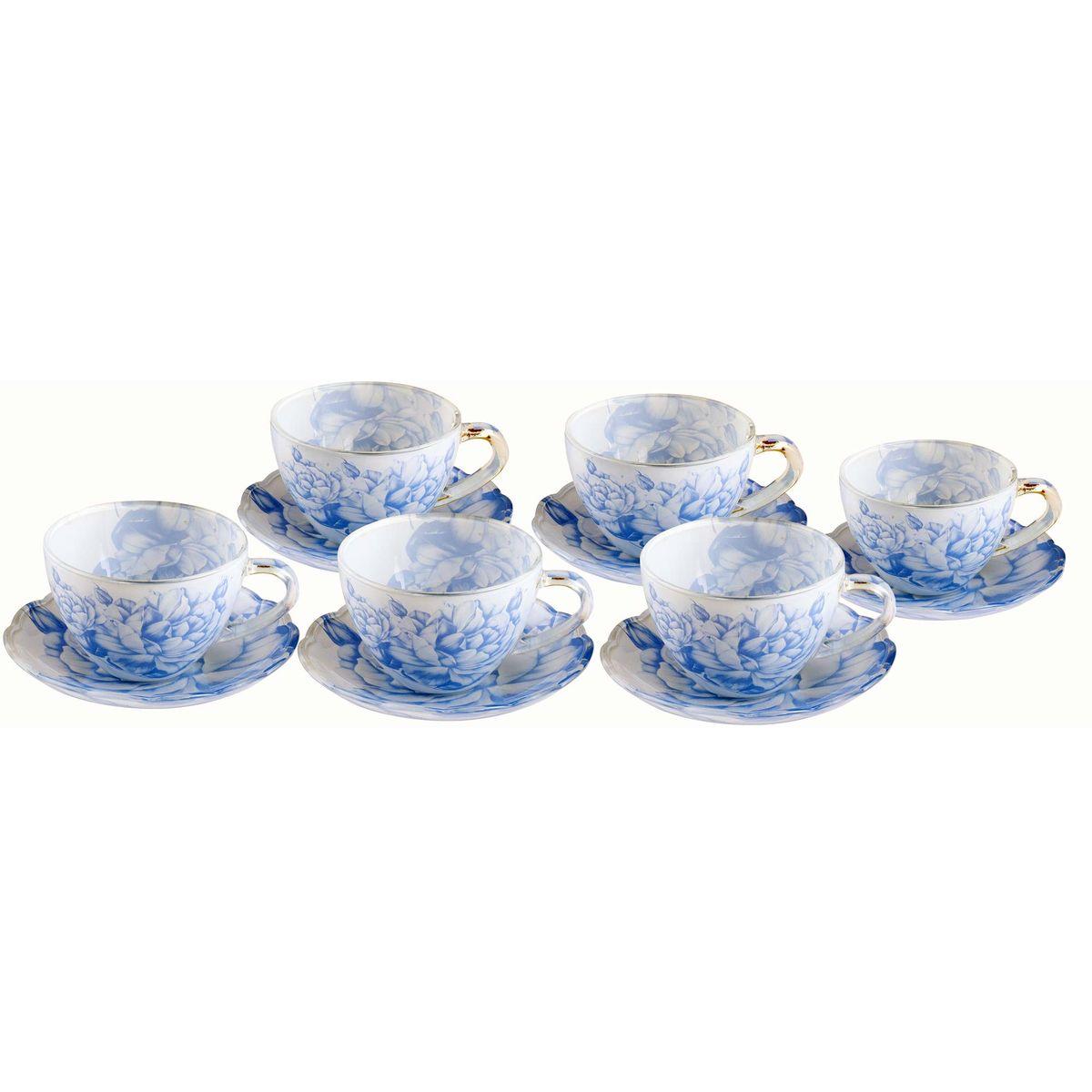 Набор чайный BK-5854 12пр11551012пр.: чашка - 6шт. (200мл), блюдце - 6шт. (13,5см). Подарочнаяупаковка. Состав: стекло.