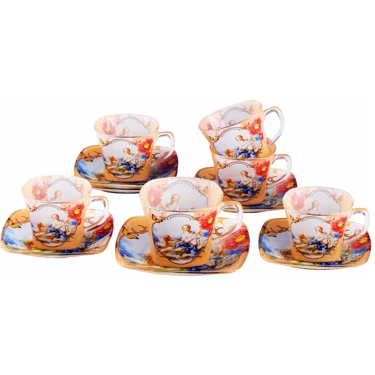 Набор чайный Bekker Koch, цвет: пшеничный, голубой, 12 предметов. BK-5857CM000001328Чайный набор Bekker Koch состоит из шести чашек и шести блюдец, изготовленных из высококачественного стекла. Внешняя поверхность предметов набора матовая с прозрачными вставками. Изделия оформлены изящным изображением ангелов и цветков. Изящный набор эффектно украсит стол к чаепитию и порадует вас функциональностью и ярким дизайном. Объем чашки: 200 мл. Диаметр (по верхнему краю): 8 см. Высота чашки: 6,5 см. Диаметр блюдца: 13,5 см. Не применять абразивные чистящие средства. Не использовать в микроволновой печи. Мыть с применением нейтральных моющих средств. Нельзя мыть в посудомоечных машинах.